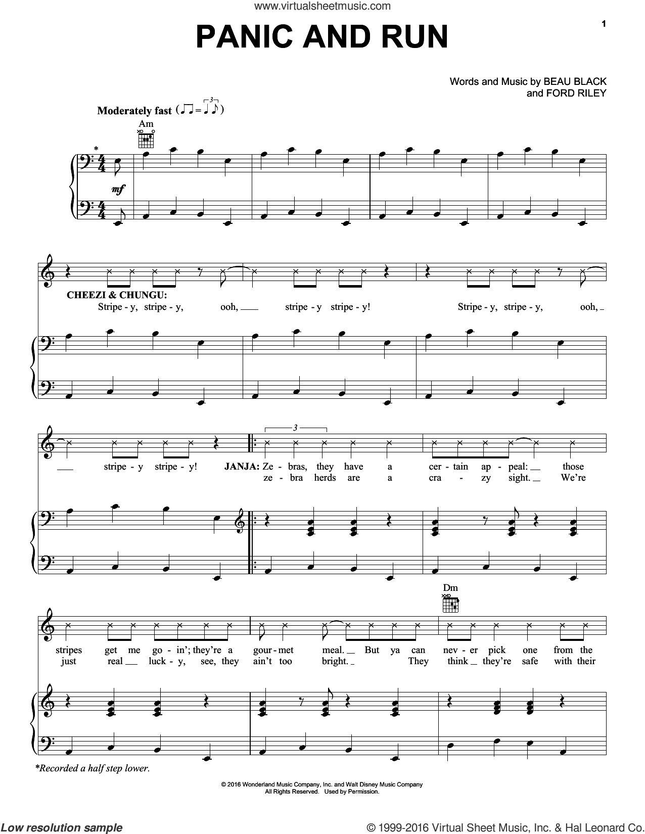 Panic And Run sheet music for voice, piano or guitar by Beau Black and Ford Riley, intermediate skill level