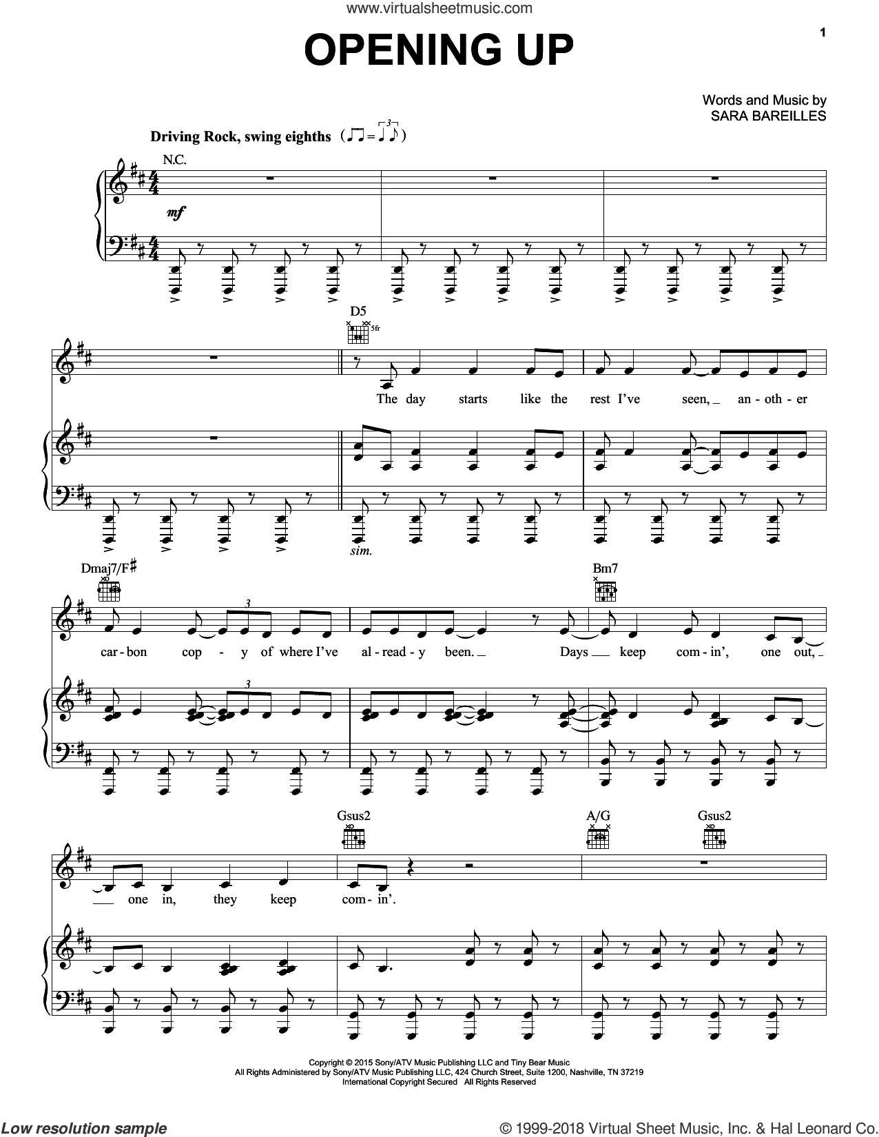Opening Up (from Waitress The Musical) sheet music for voice, piano or guitar by Sara Bareilles, intermediate skill level