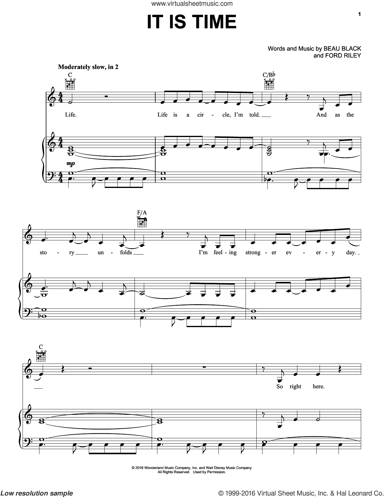 It Is Time sheet music for voice, piano or guitar by Ford Riley