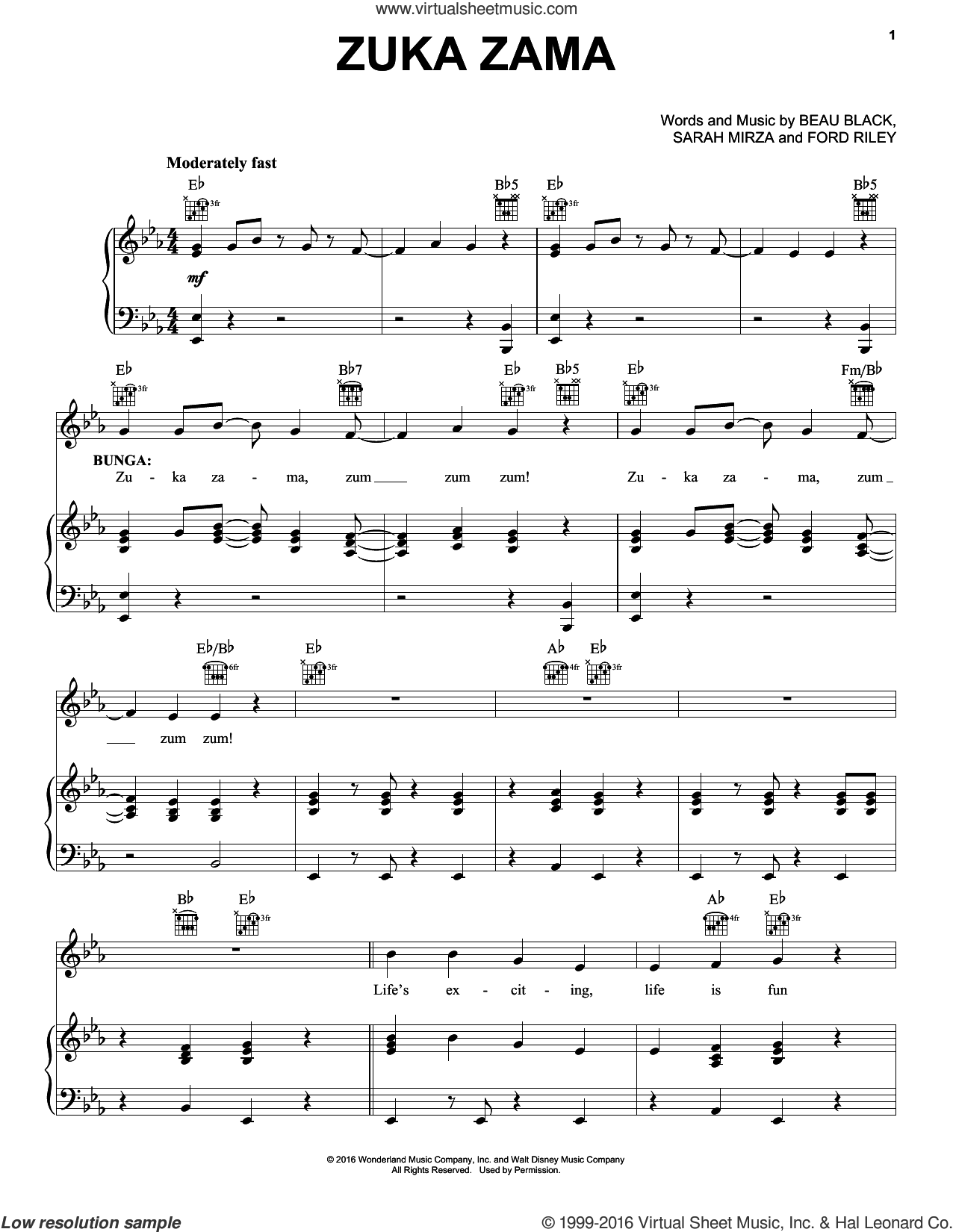 Zuka Zama sheet music for voice, piano or guitar by Sarah Mirza, Beau Black and Ford Riley. Score Image Preview.