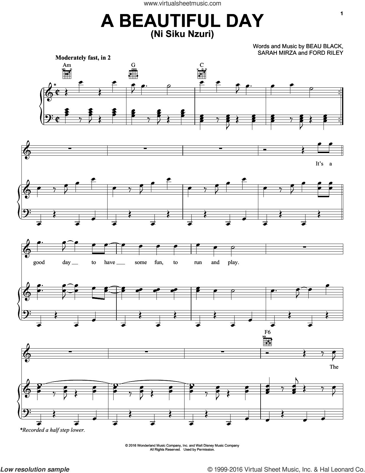 A Beautiful Day sheet music for voice, piano or guitar by Ford Riley, Beau Black and Sarah Mirza, intermediate