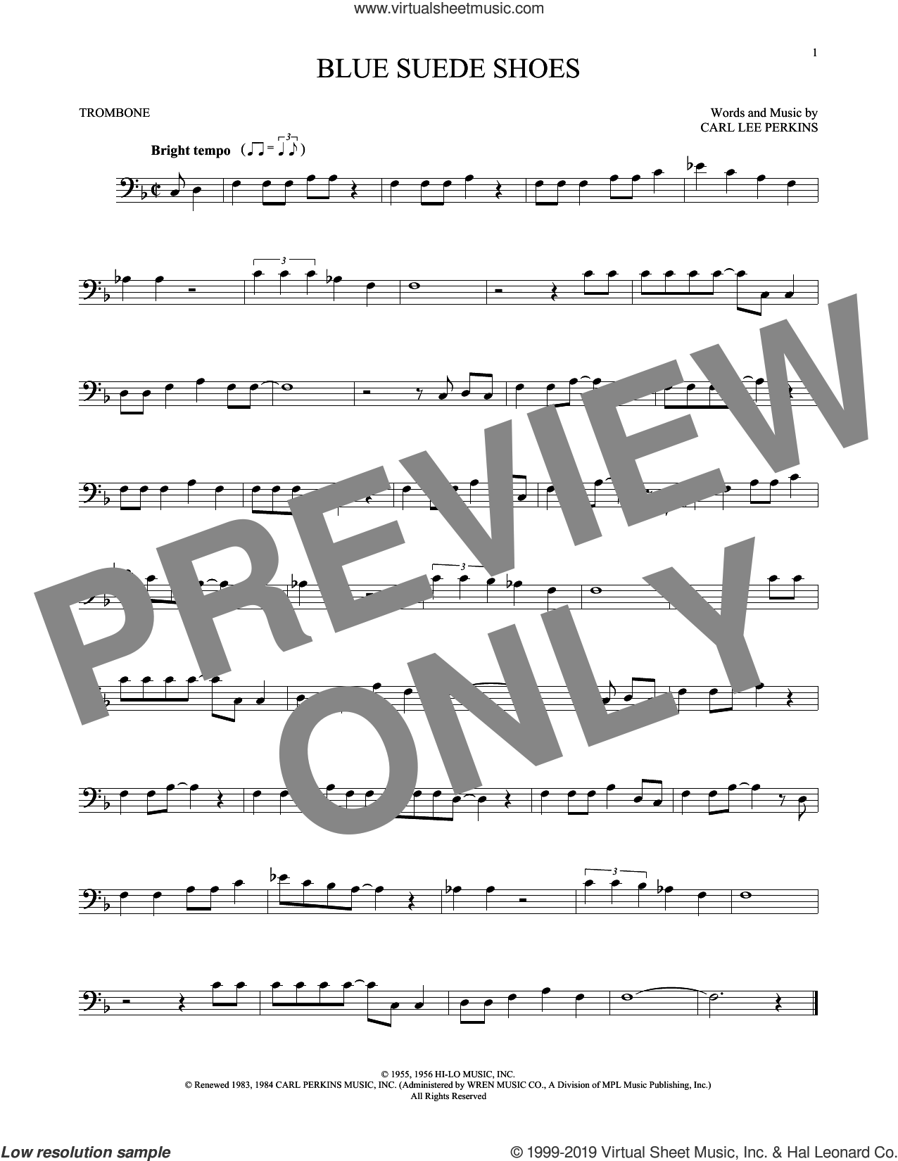 Blue Suede Shoes sheet music for trombone solo by Carl Perkins and Elvis Presley, intermediate skill level