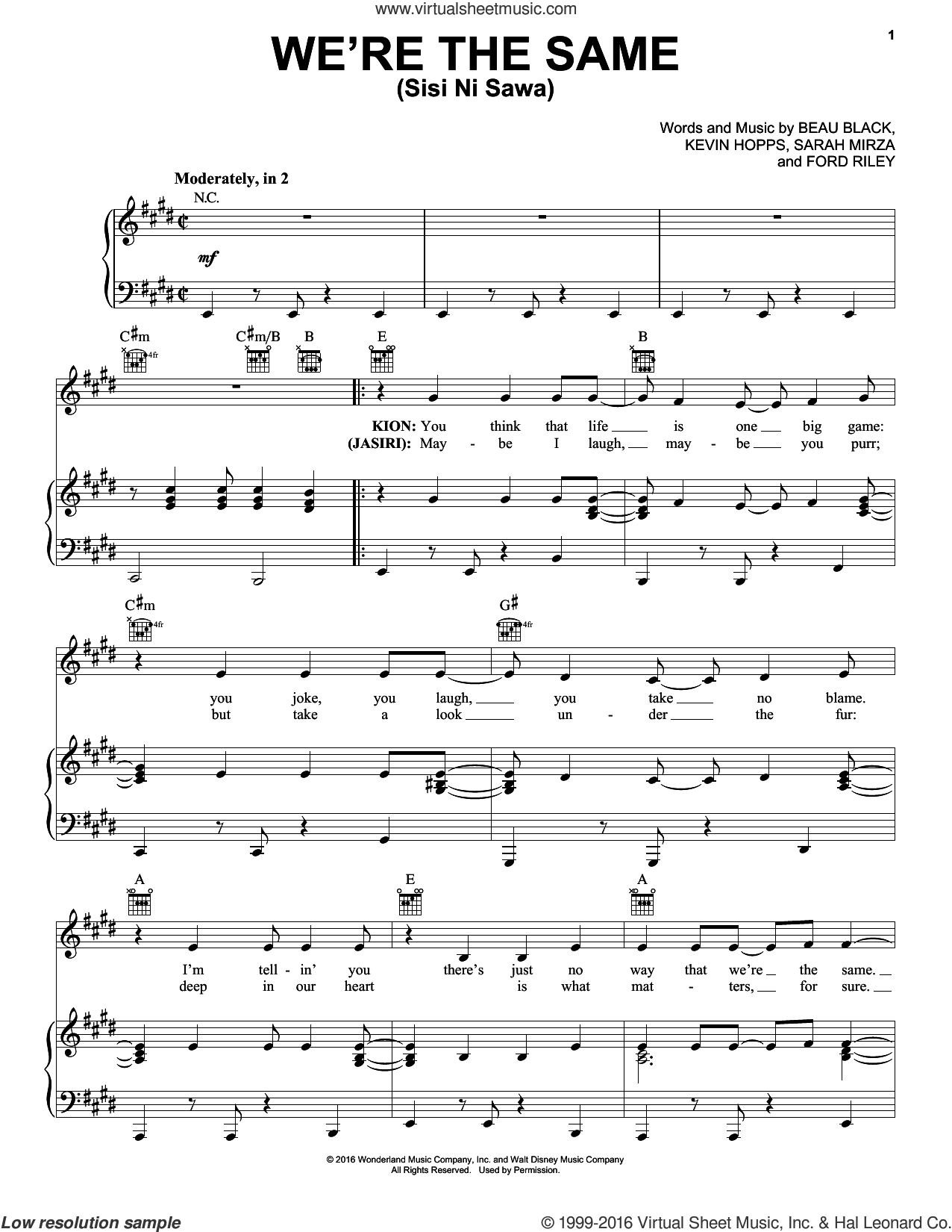 We're The Same (Sis Ni Sawa) sheet music for voice, piano or guitar by Sarah Mirza, Beau Black, Ford Riley and Kevin Hopps, intermediate skill level