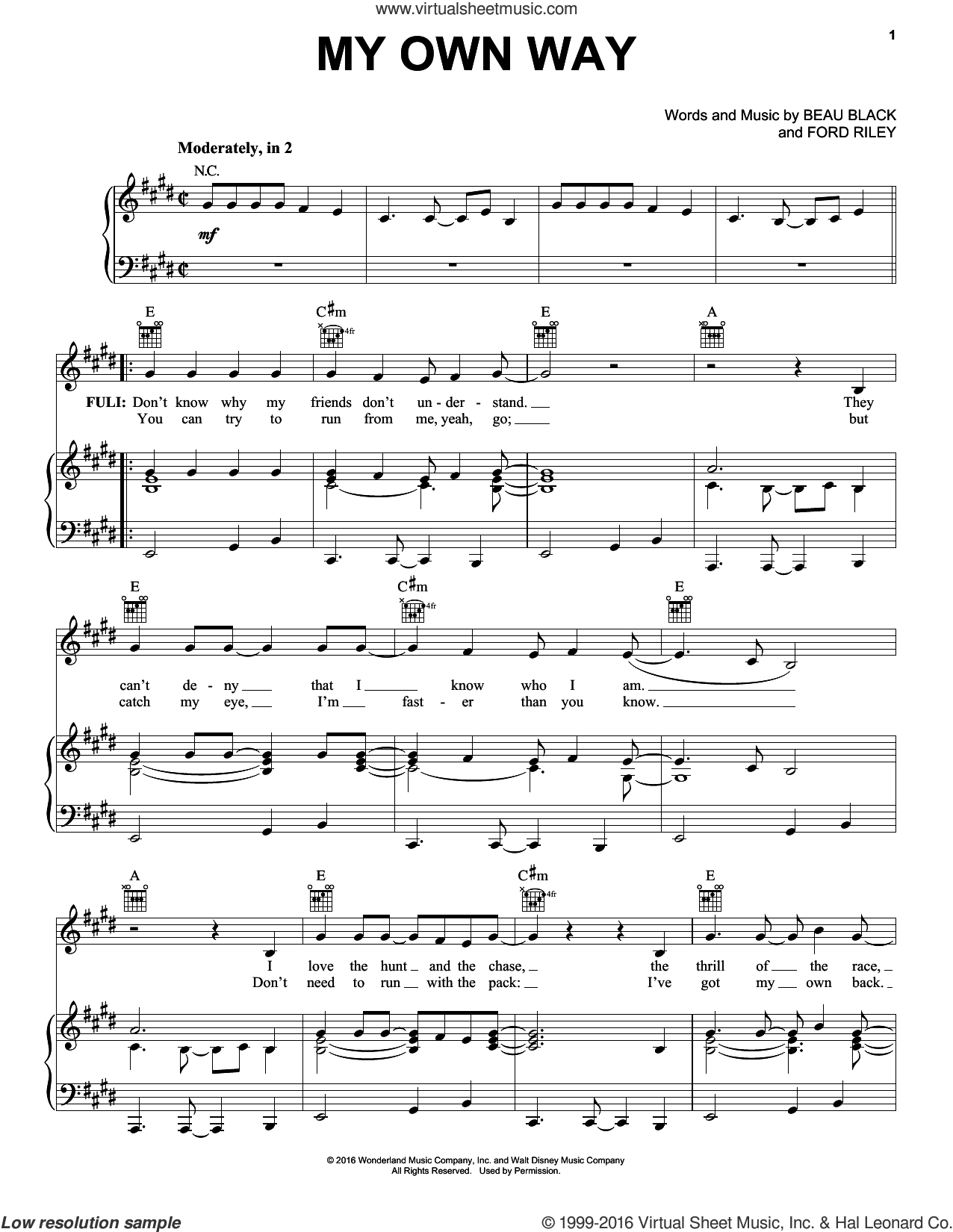 My Own Way sheet music for voice, piano or guitar by Beau Black and Ford Riley, intermediate skill level