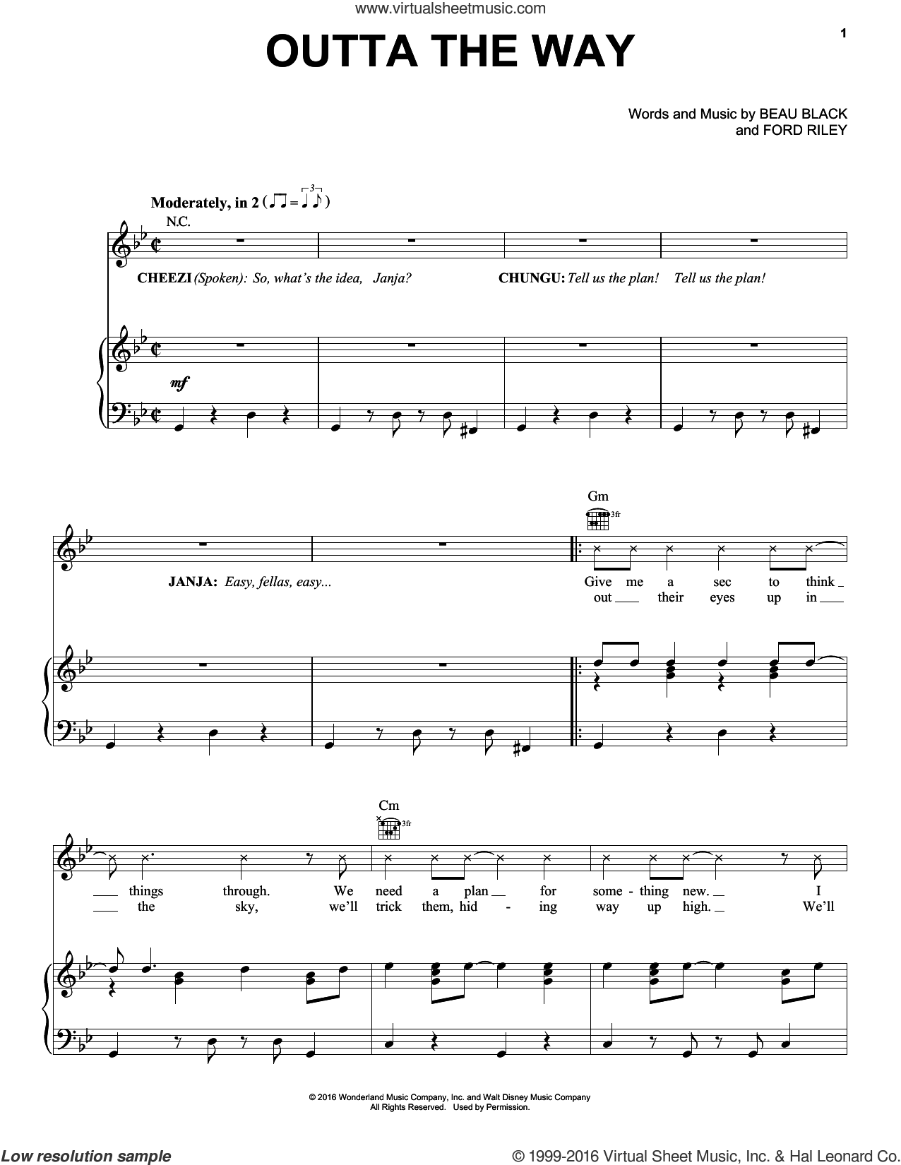 Outta The Way sheet music for voice, piano or guitar by Beau Black and Ford Riley, intermediate voice, piano or guitar. Score Image Preview.