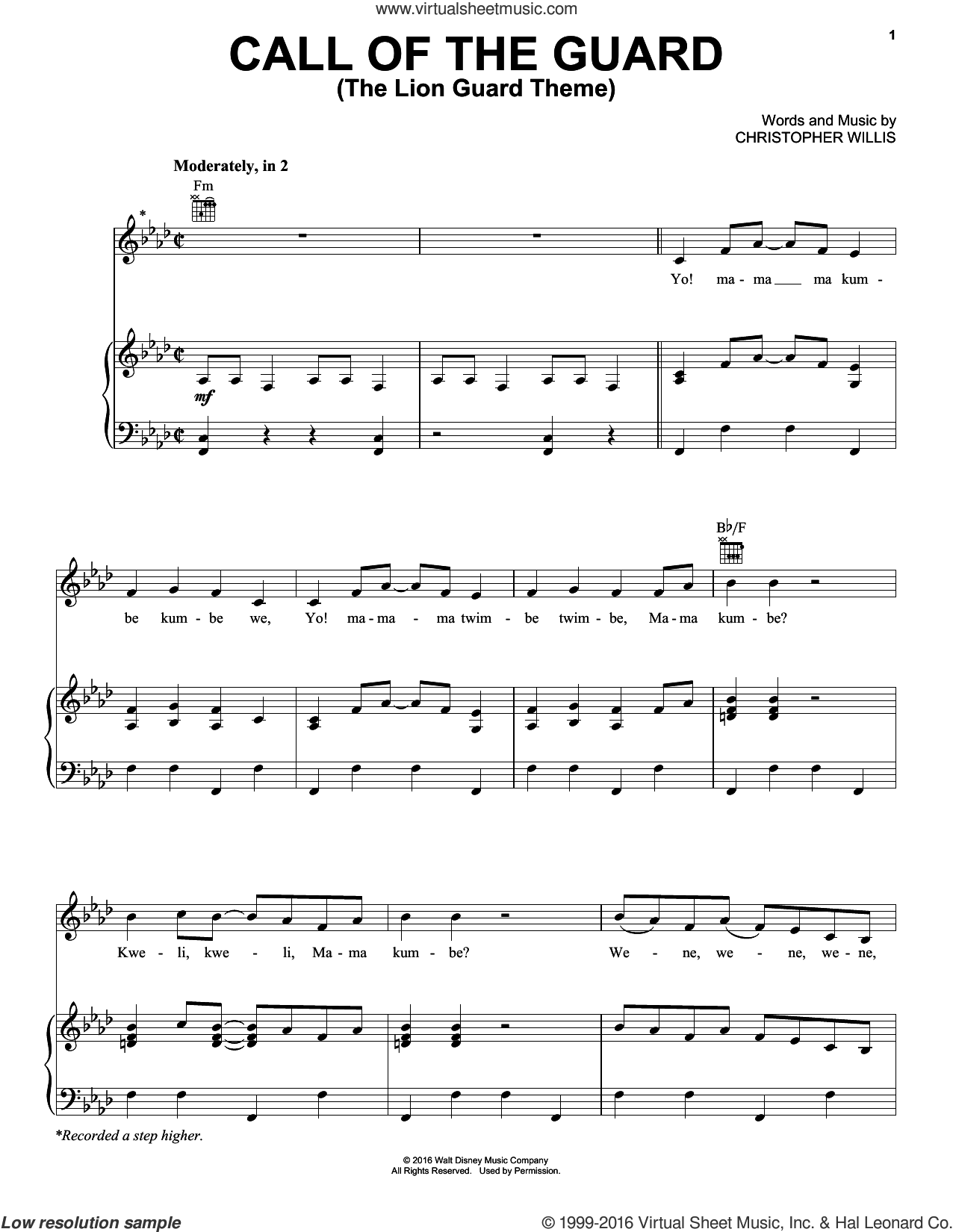 Call Of The Guard (The Lion Guard Theme) sheet music for voice, piano or guitar by Christopher Willis, intermediate skill level
