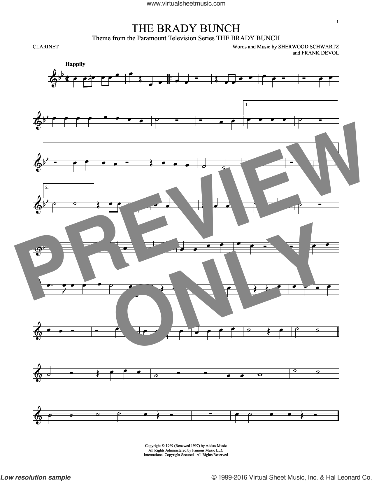 The Brady Bunch sheet music for clarinet solo by Frank DeVol and Sherwood Schwartz, intermediate skill level