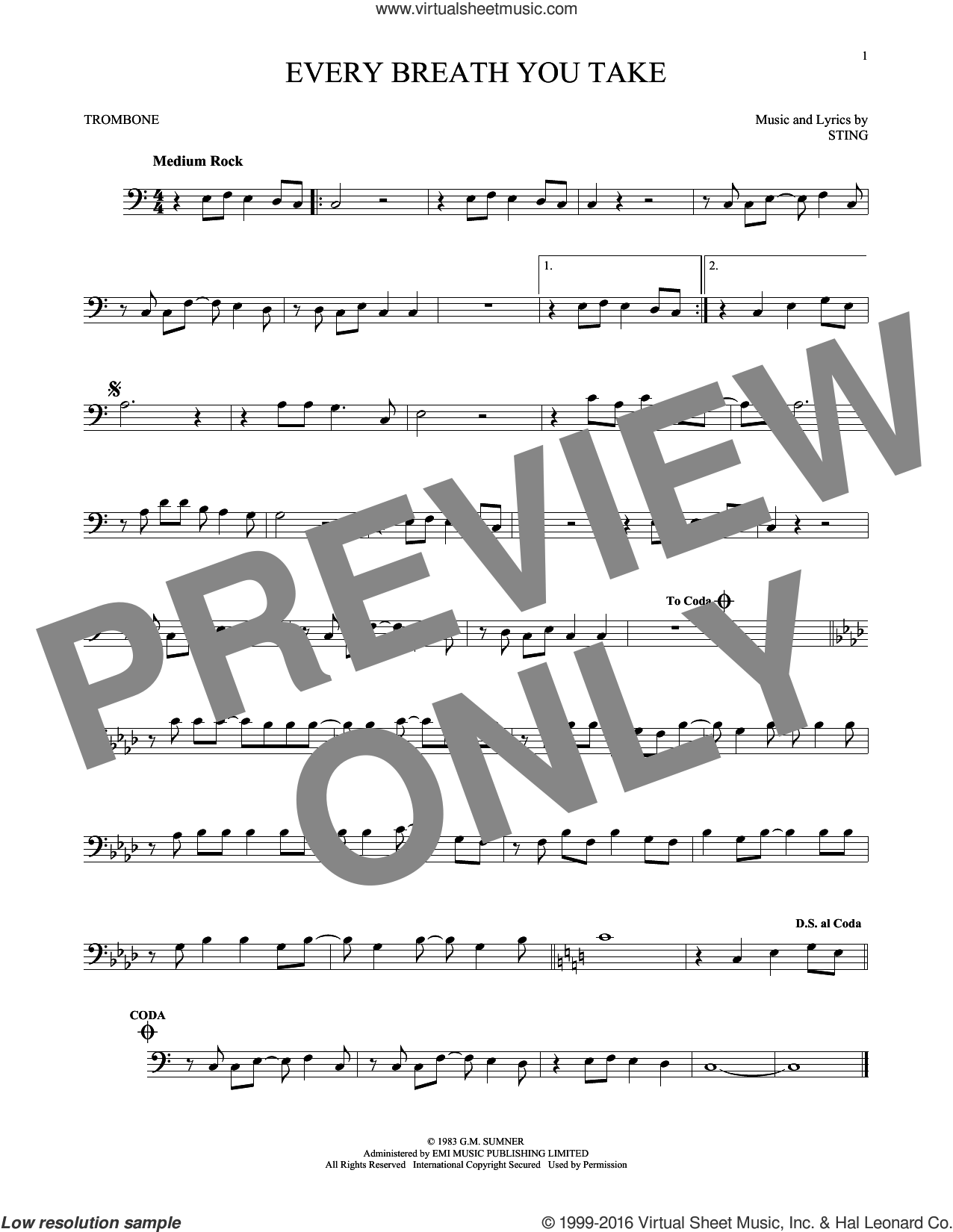 Every Breath You Take sheet music for trombone solo by The Police and Sting, intermediate skill level