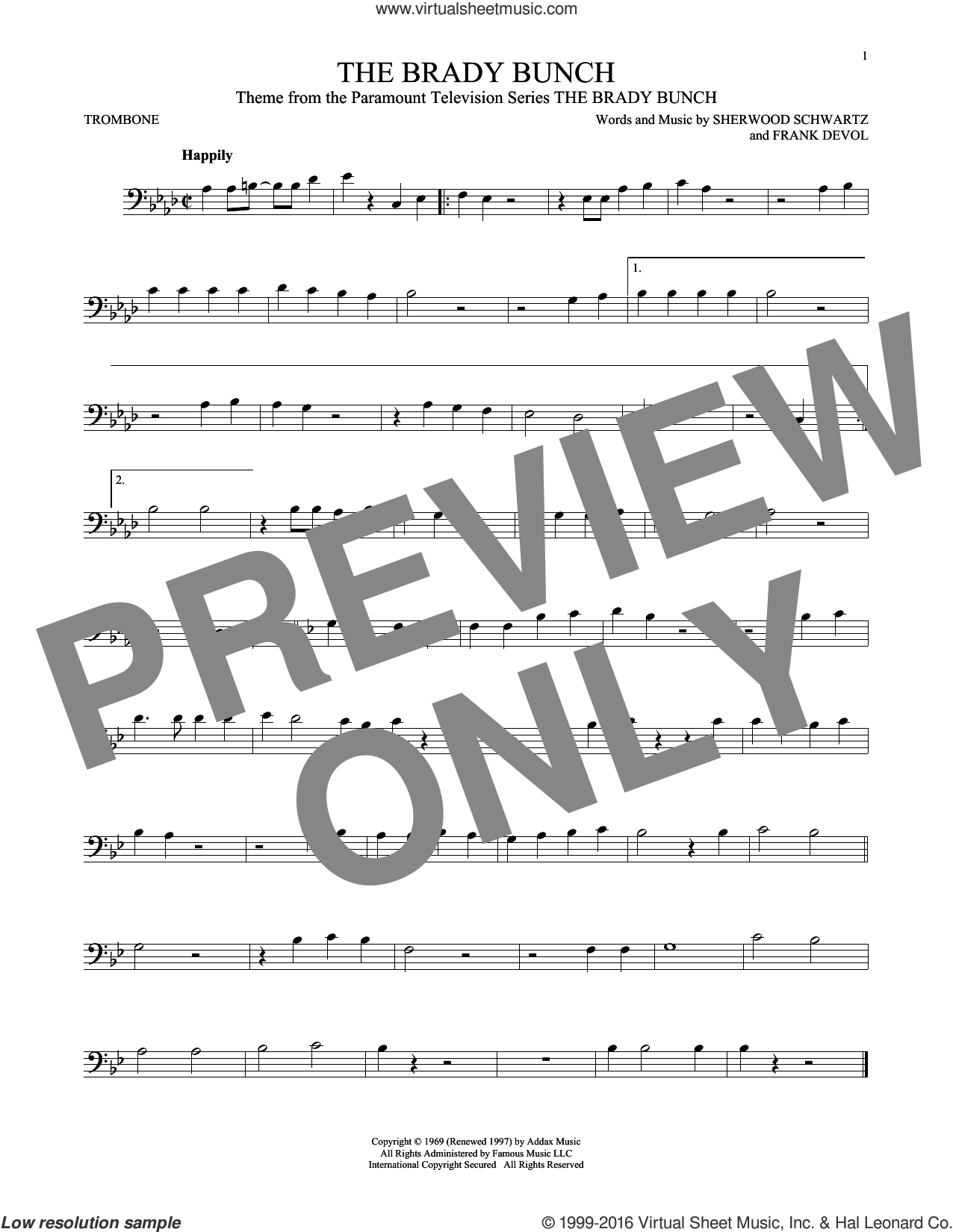 The Brady Bunch sheet music for trombone solo by Frank DeVol and Sherwood Schwartz. Score Image Preview.