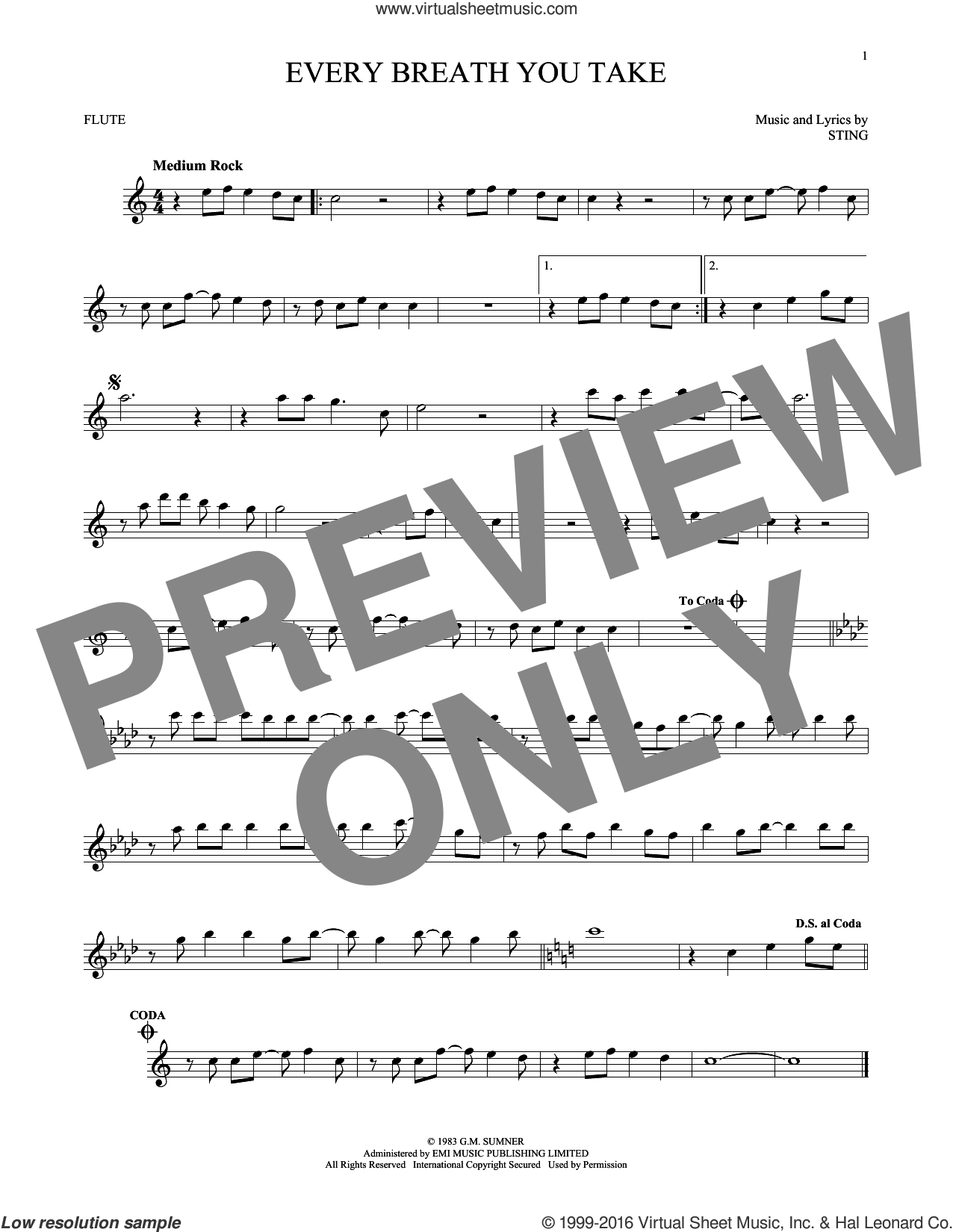 Every Breath You Take sheet music for flute solo by Sting and The Police. Score Image Preview.