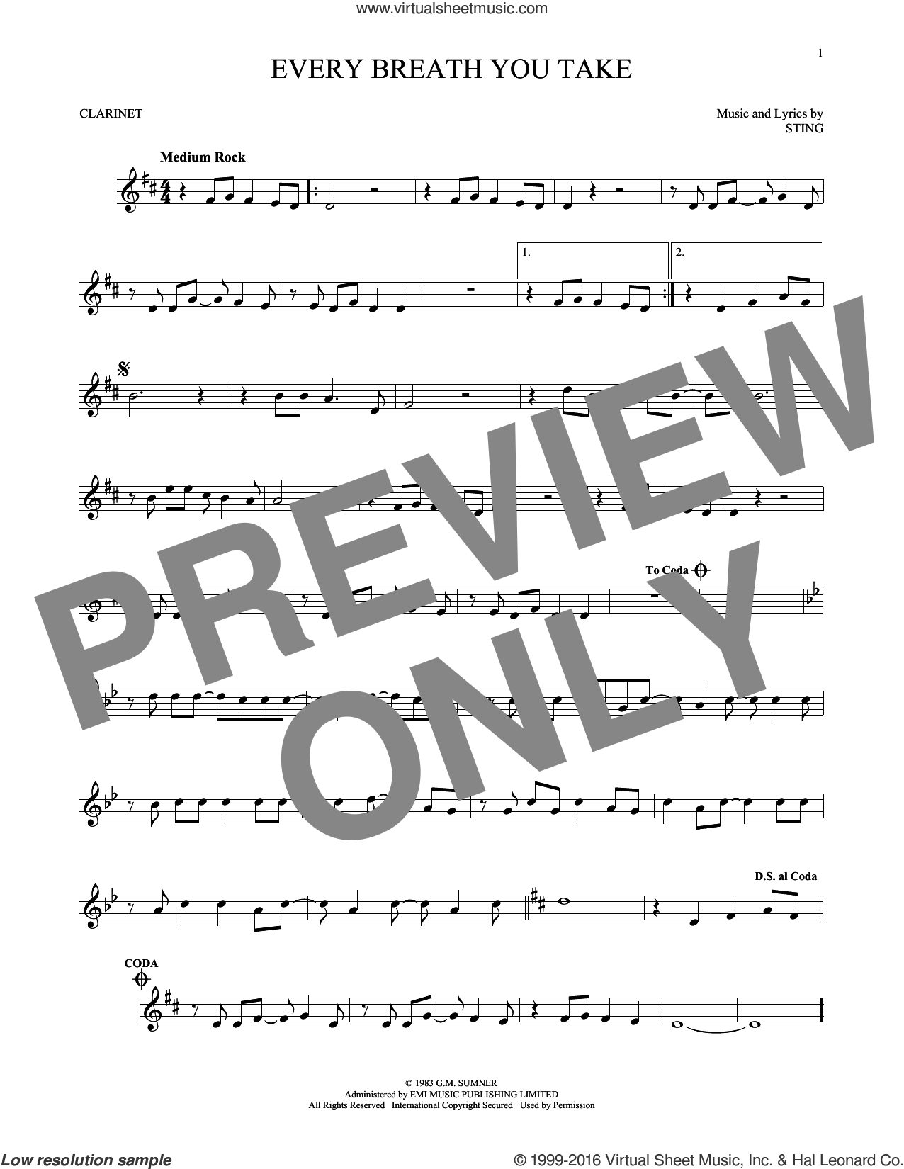 Every Breath You Take sheet music for clarinet solo by The Police and Sting, intermediate skill level