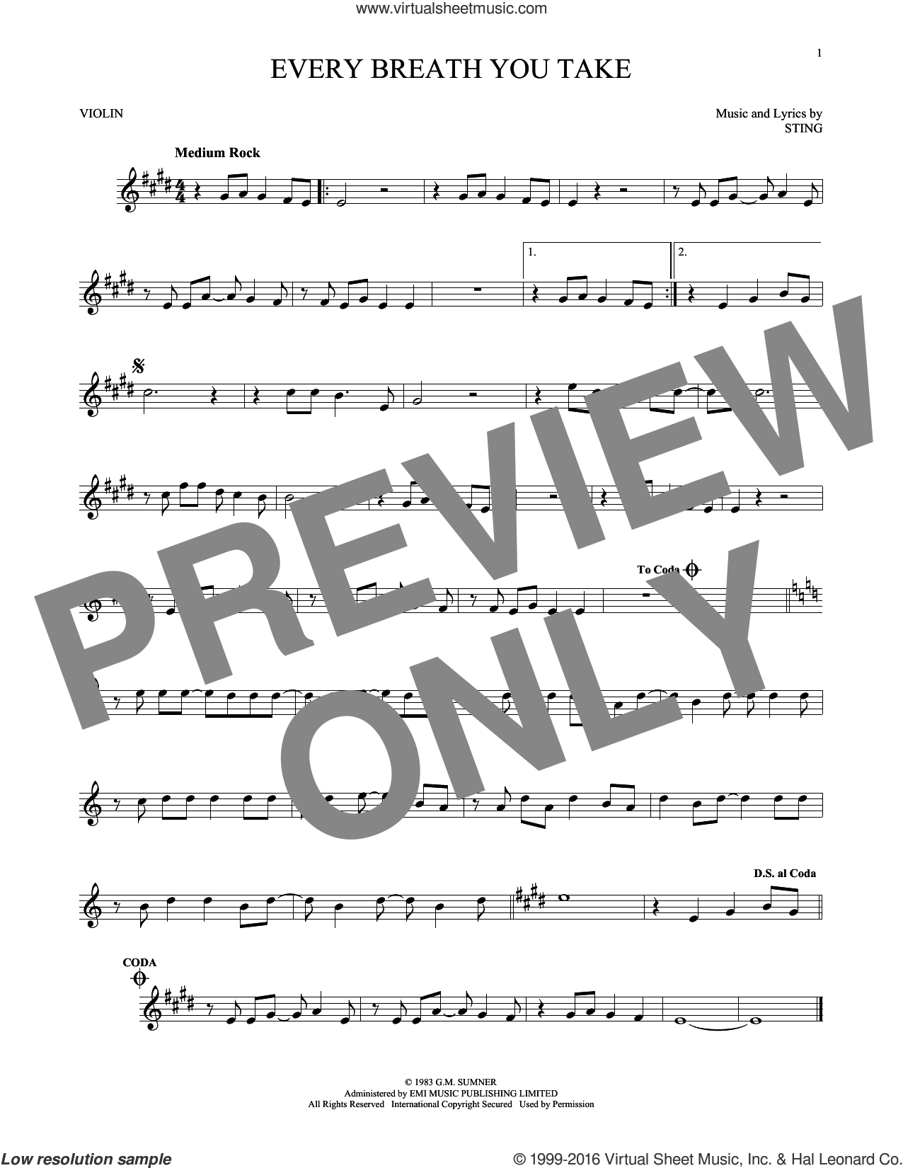 Every Breath You Take sheet music for violin solo by The Police and Sting. Score Image Preview.