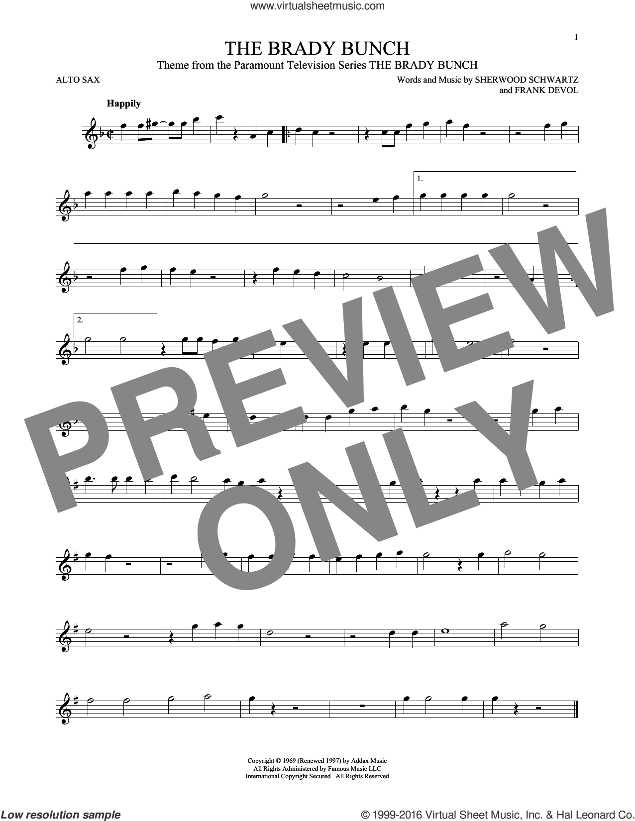 The Brady Bunch sheet music for alto saxophone solo by Frank DeVol and Sherwood Schwartz, intermediate skill level