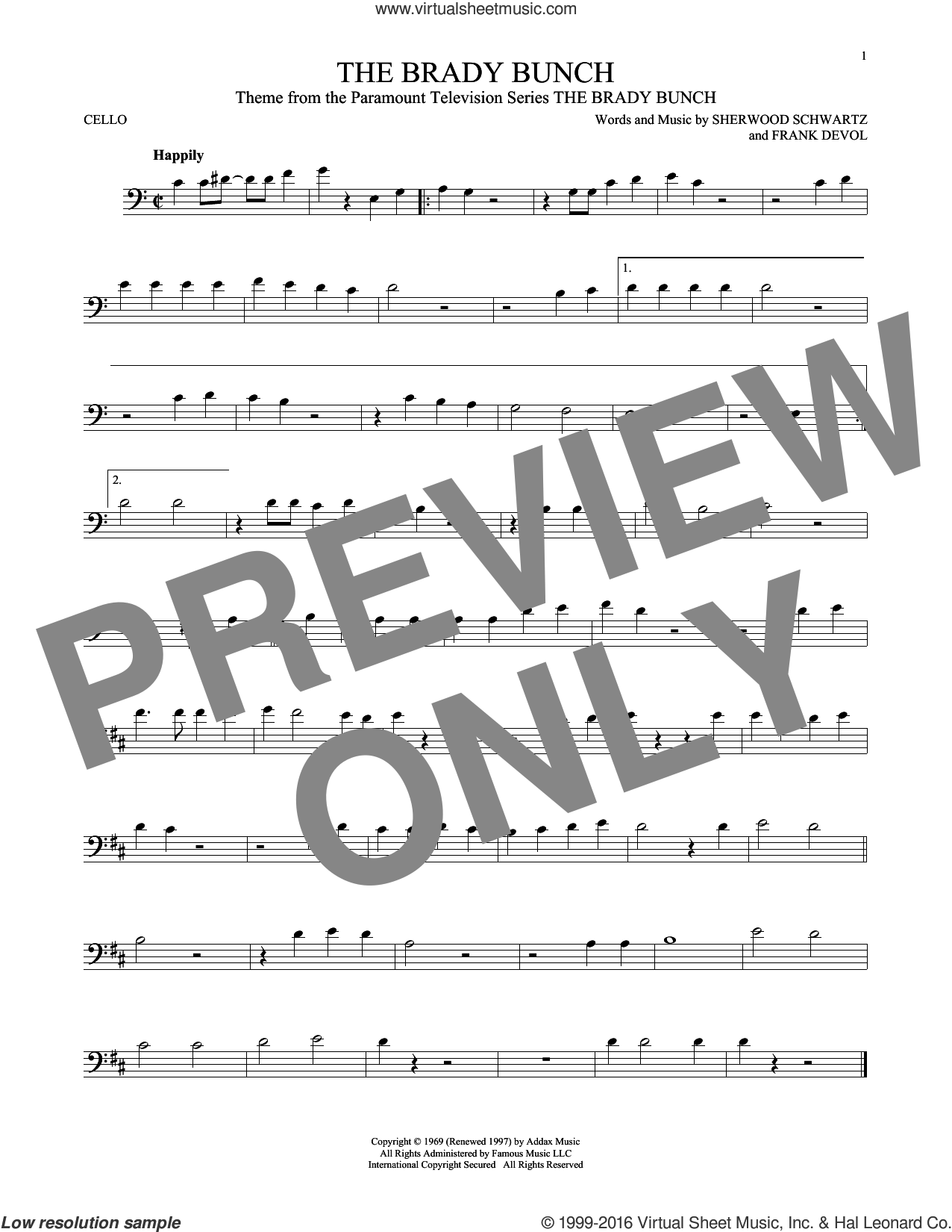 The Brady Bunch sheet music for cello solo by Frank DeVol and Sherwood Schwartz. Score Image Preview.