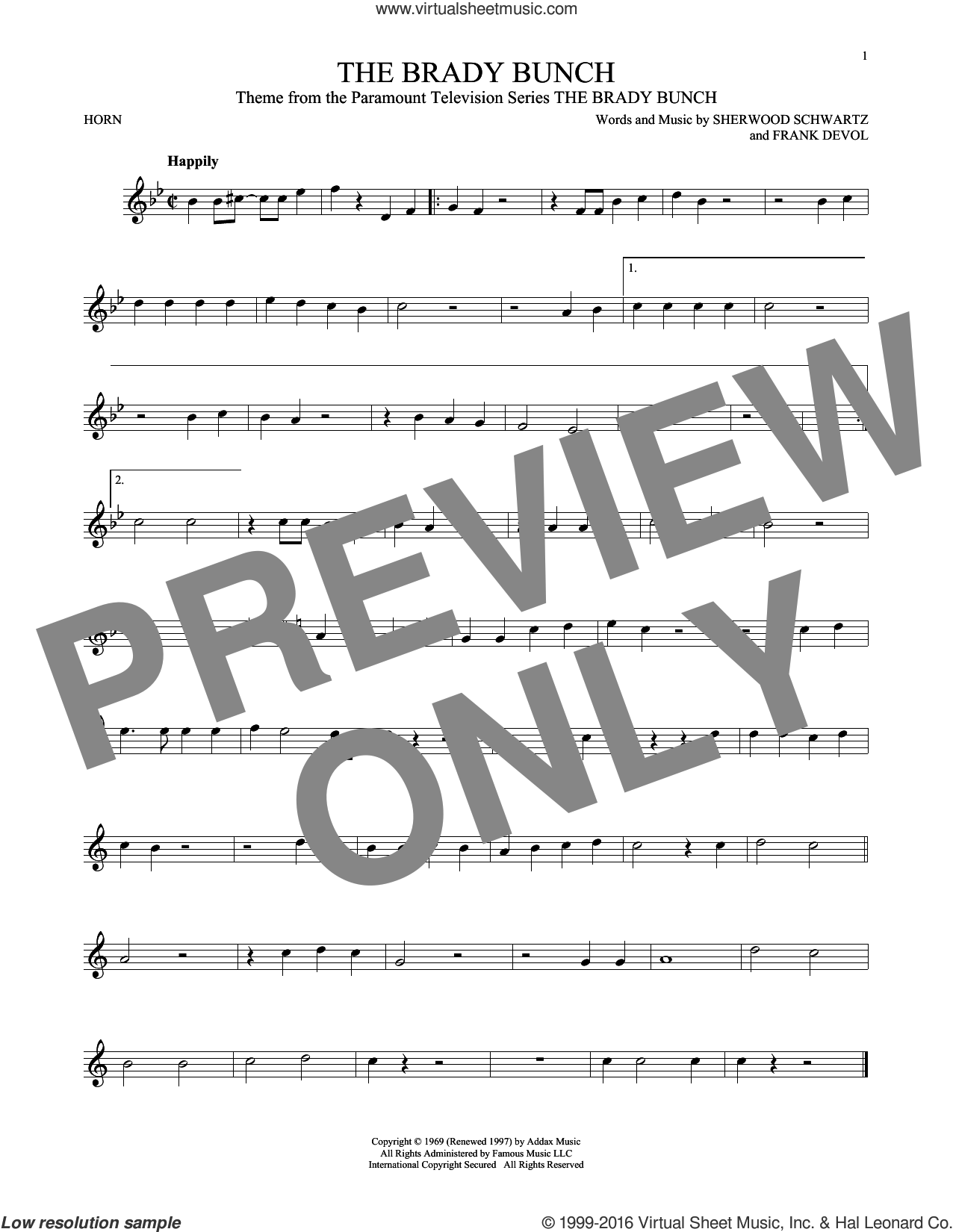 The Brady Bunch sheet music for horn solo by Sherwood Schwartz and Frank DeVol. Score Image Preview.