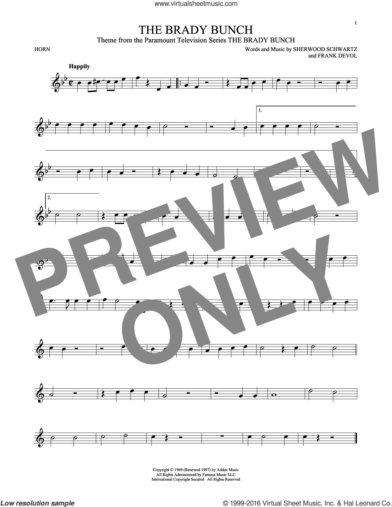 The Brady Bunch sheet music for horn solo by Frank DeVol and Sherwood Schwartz, intermediate skill level
