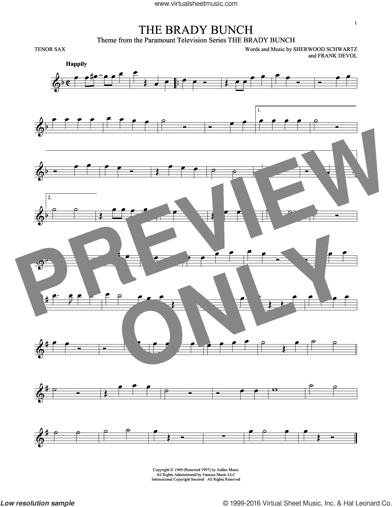 The Brady Bunch sheet music for tenor saxophone solo by Frank DeVol and Sherwood Schwartz, intermediate skill level