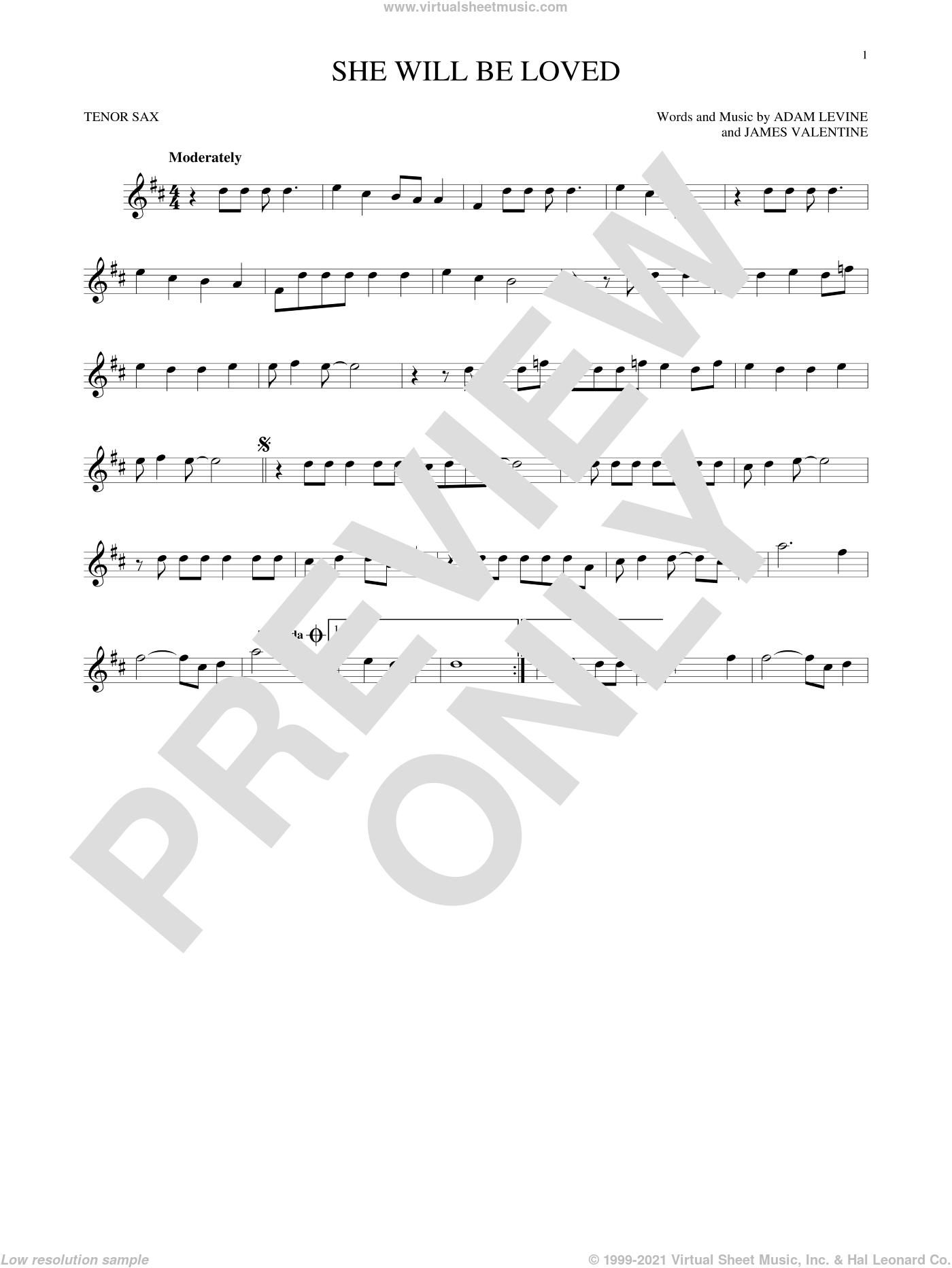 She Will Be Loved sheet music for tenor saxophone solo by Maroon 5, Adam Levine and James Valentine, intermediate