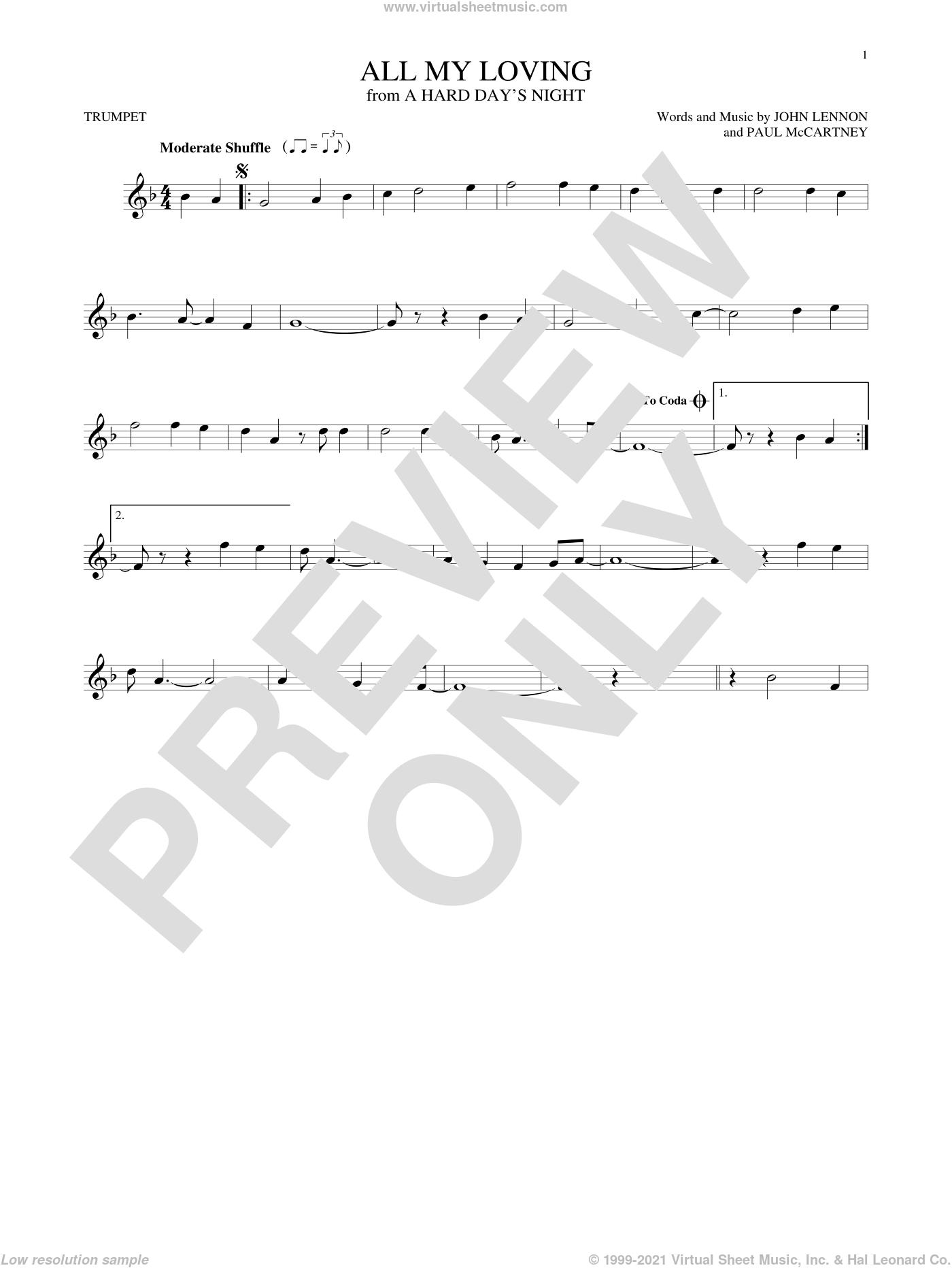 All My Loving sheet music for trumpet solo by The Beatles, John Lennon and Paul McCartney, intermediate skill level