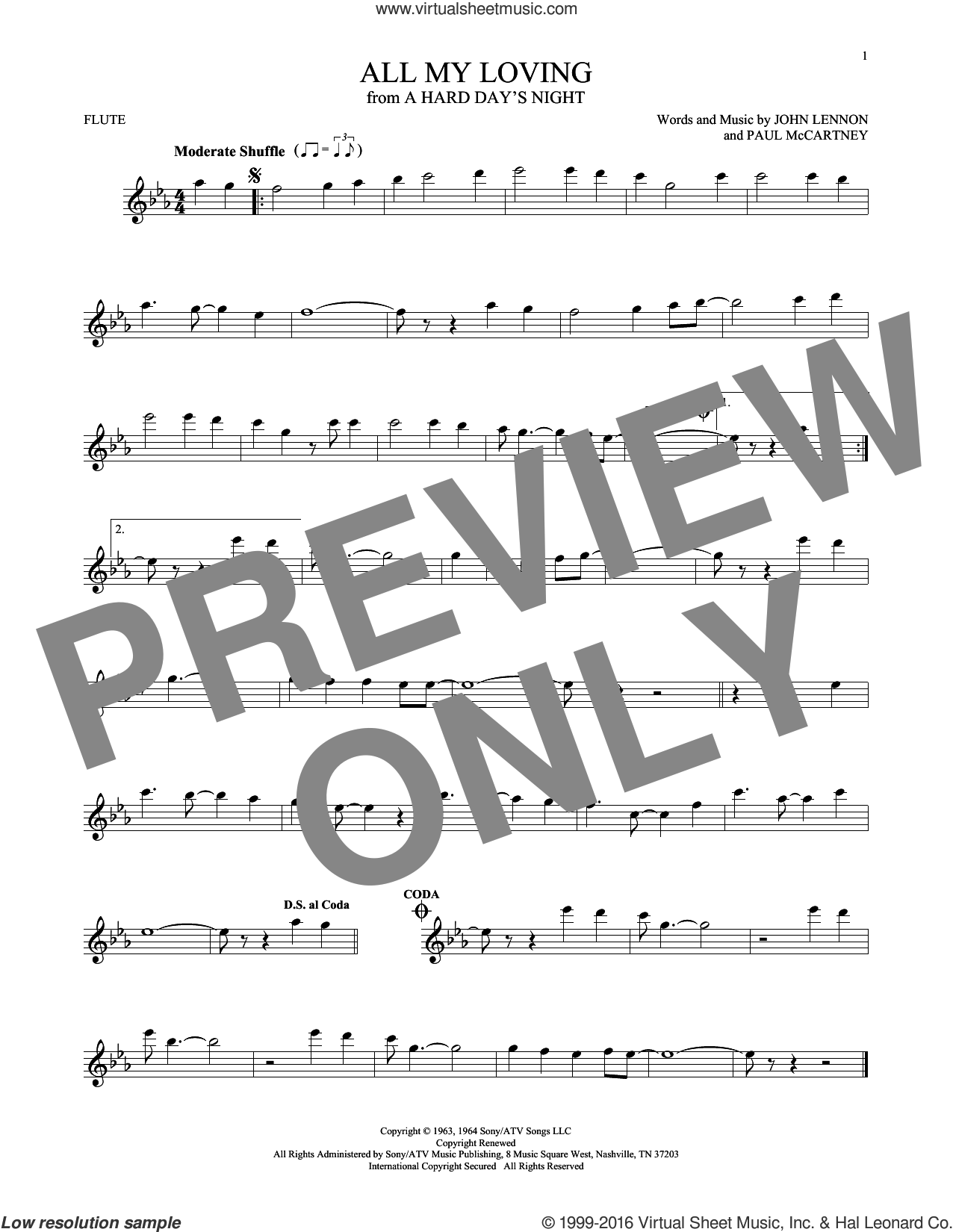 All My Loving sheet music for flute solo by The Beatles, John Lennon and Paul McCartney, intermediate flute. Score Image Preview.