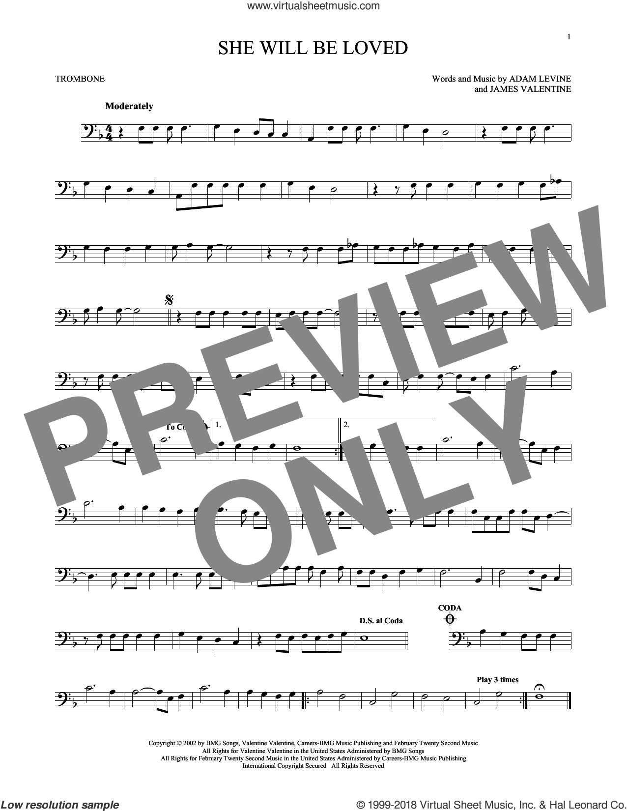 She Will Be Loved sheet music for trombone solo by Maroon 5, Adam Levine and James Valentine, intermediate skill level