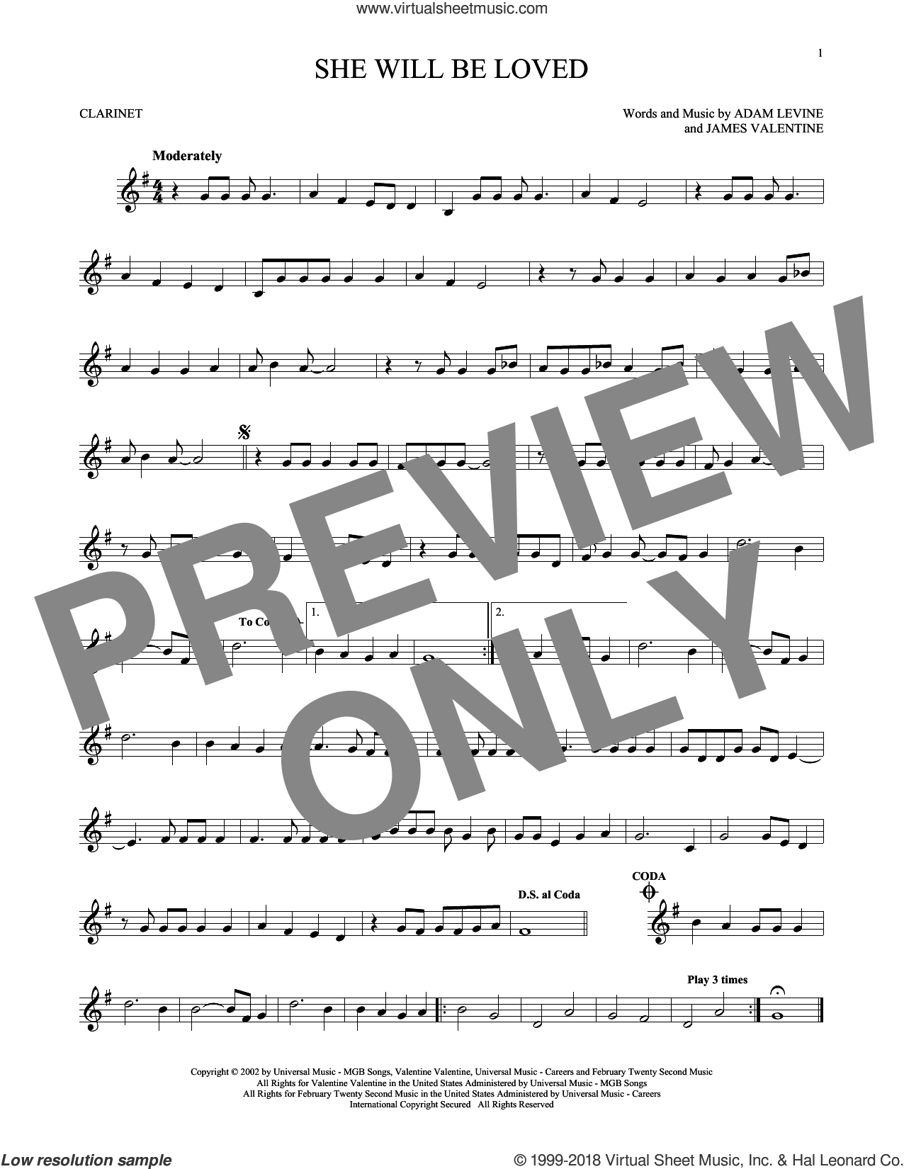 She Will Be Loved sheet music for clarinet solo by Maroon 5, Adam Levine and James Valentine, intermediate skill level