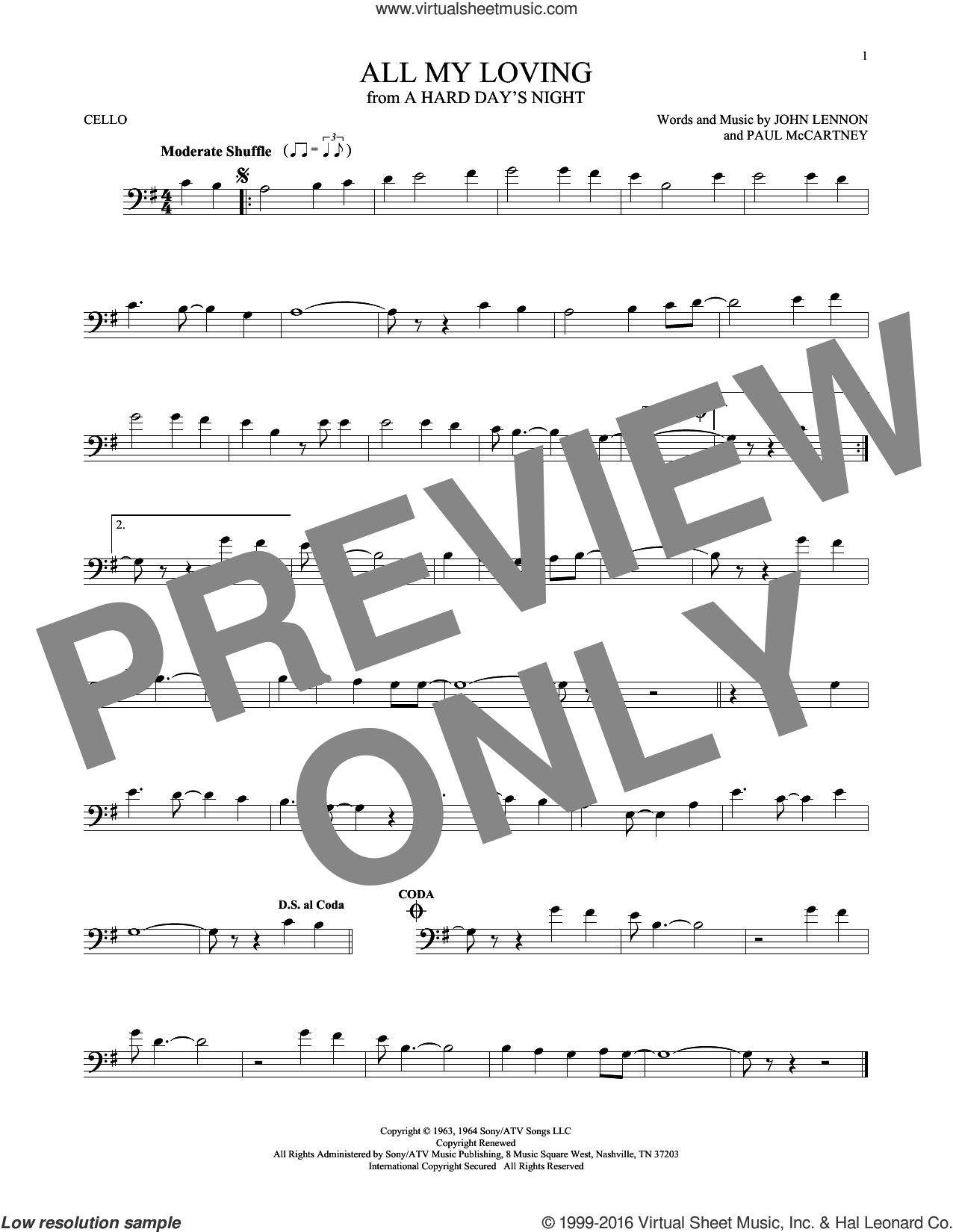 All My Loving sheet music for cello solo by The Beatles, John Lennon and Paul McCartney, intermediate skill level