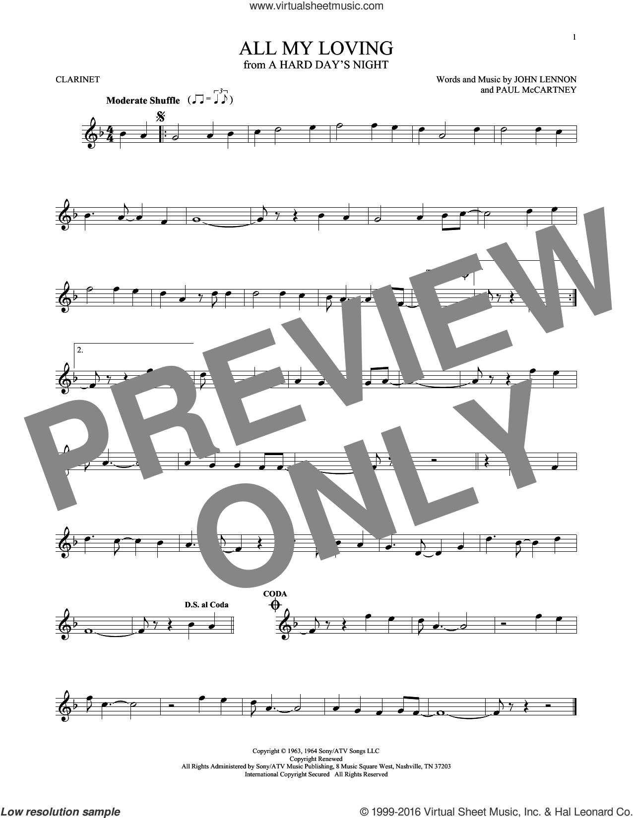 All My Loving sheet music for clarinet solo by The Beatles, John Lennon and Paul McCartney, intermediate