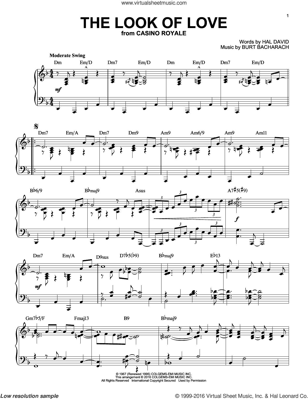 The Look Of Love sheet music for piano solo by Burt Bacharach, Bacharach & David and Hal David. Score Image Preview.