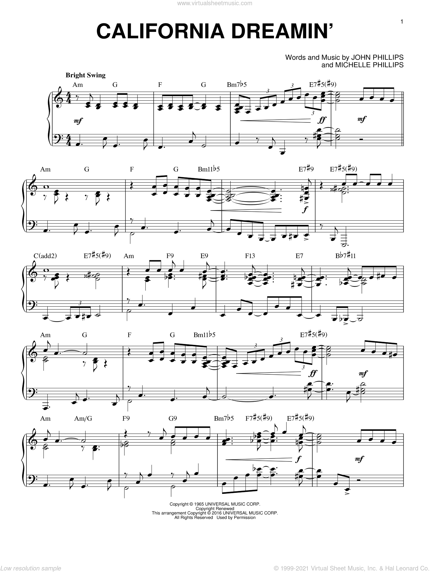 California Dreamin' [Jazz version] (arr. Brent Edstrom) sheet music for piano solo by The Mamas & The Papas, John Phillips and Michelle Phillips, intermediate skill level