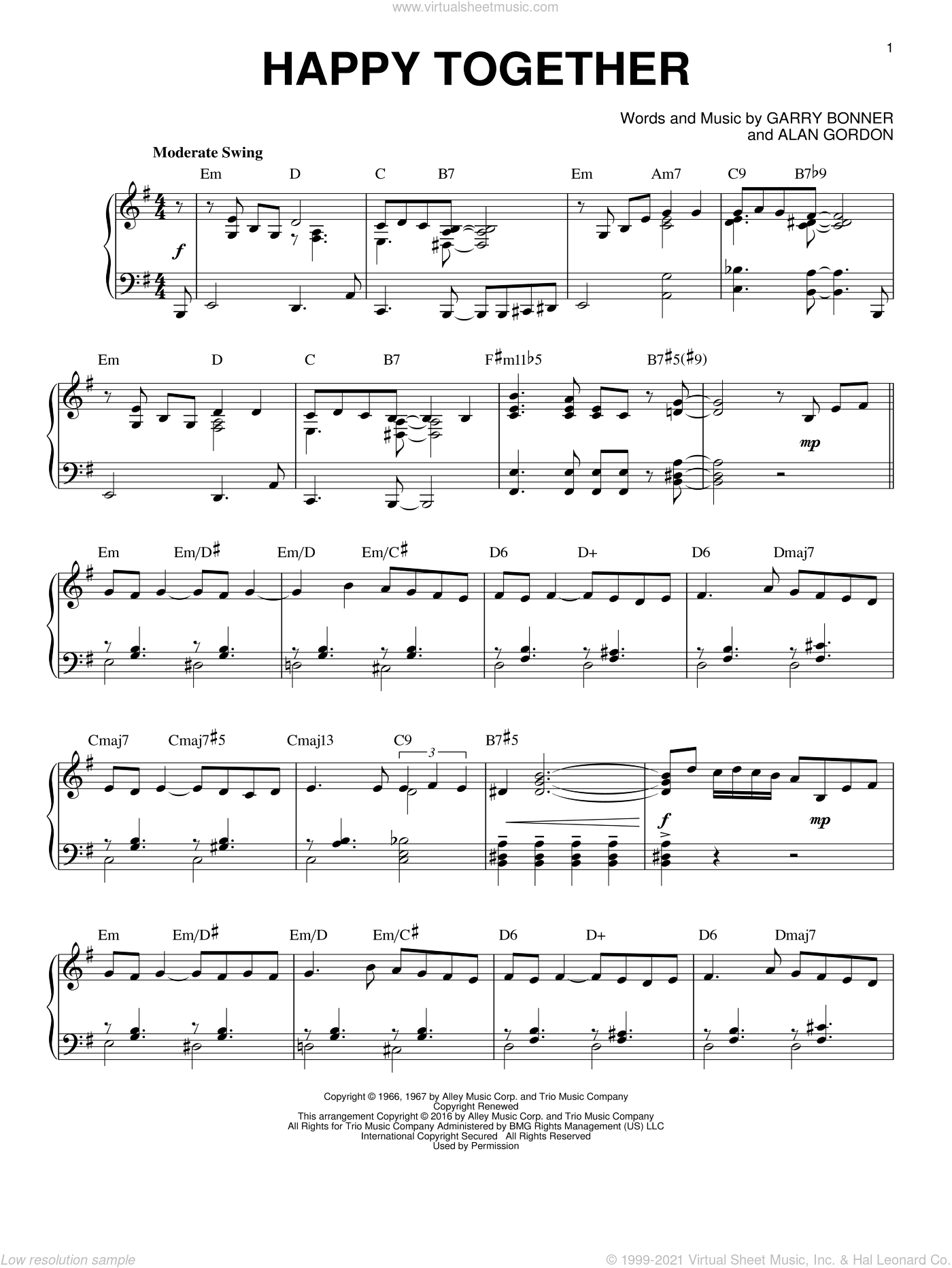 Happy Together [Jazz version] (arr. Brent Edstrom) sheet music for piano solo by The Turtles, Alan Gordon and Garry Bonner, intermediate skill level