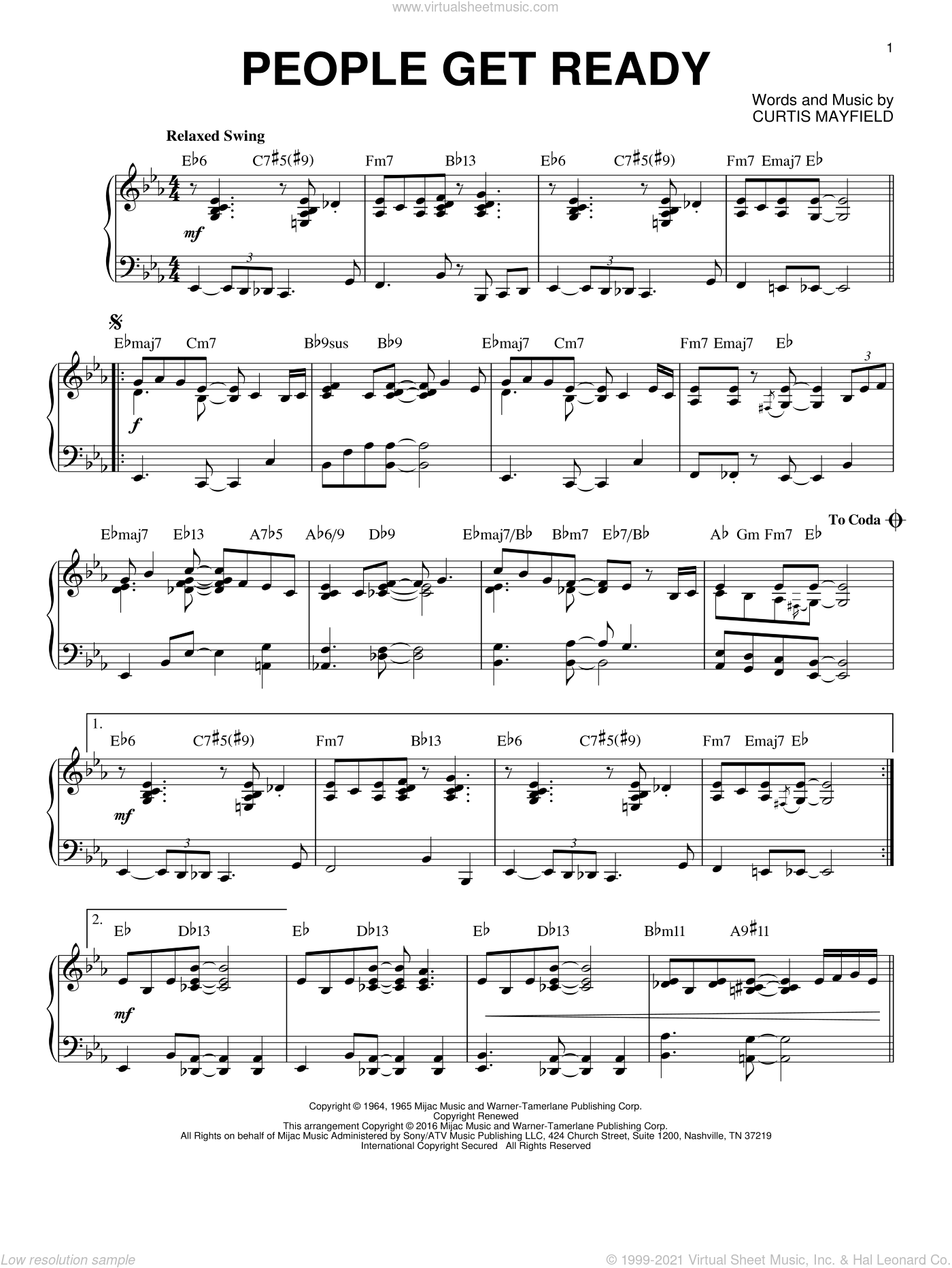 People Get Ready [Jazz version] (arr. Brent Edstrom) sheet music for piano solo by Bob Marley, Rod Stewart and Curtis Mayfield, intermediate skill level