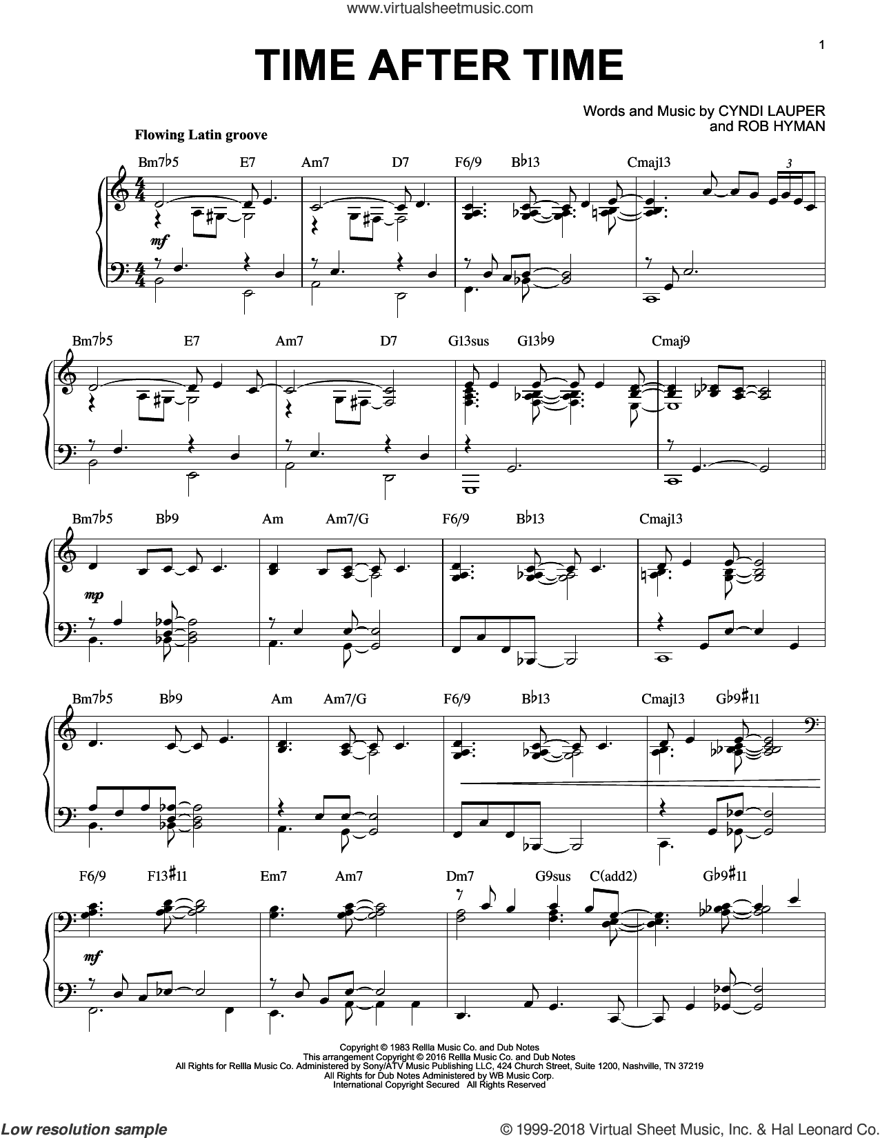 Time After Time, (intermediate) sheet music for piano solo by Cyndi Lauper, Inoj, Javier Colon and Rob Hyman, intermediate skill level