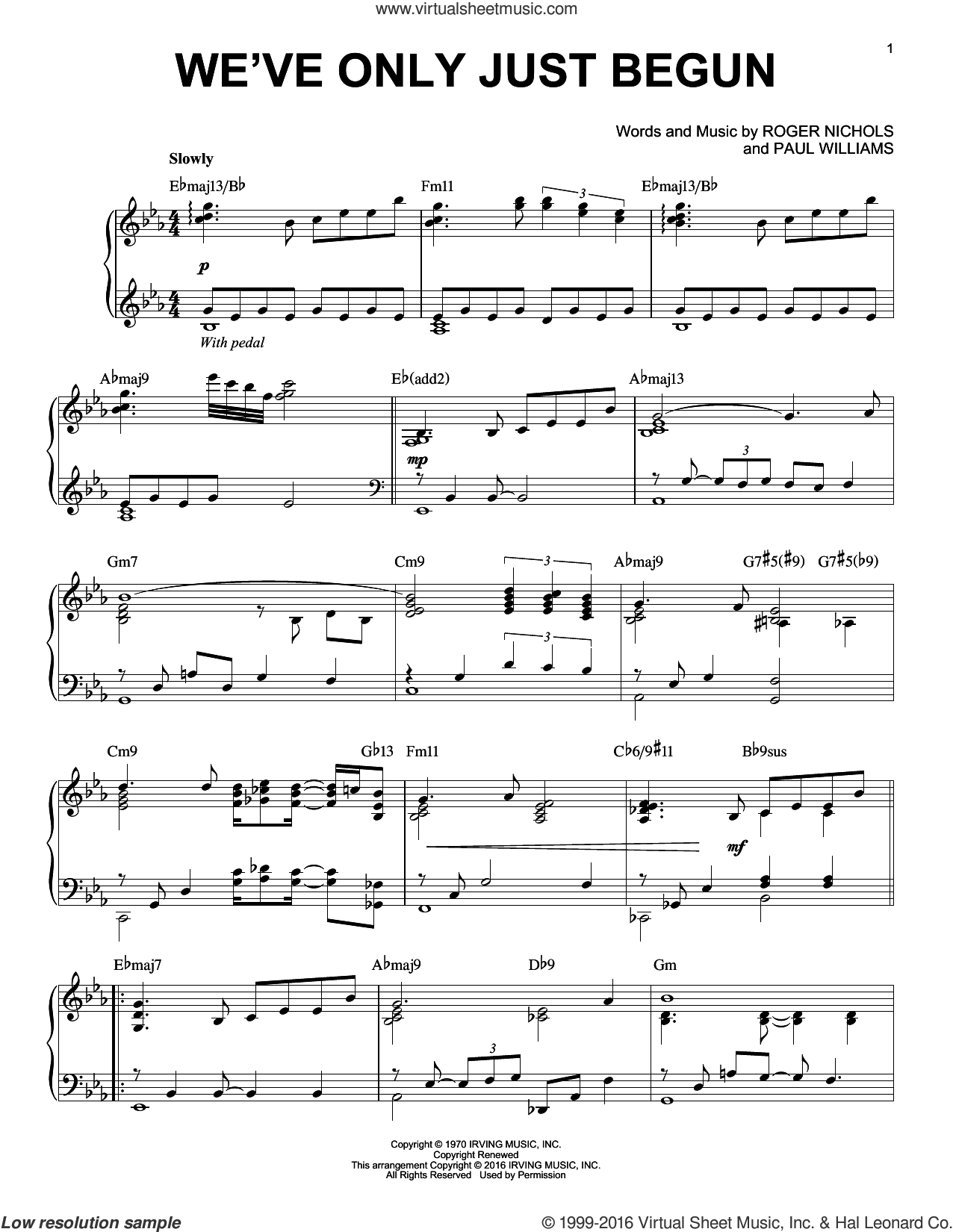 We've Only Just Begun sheet music for piano solo by Paul Williams, Carpenters and Roger Nichols, intermediate skill level