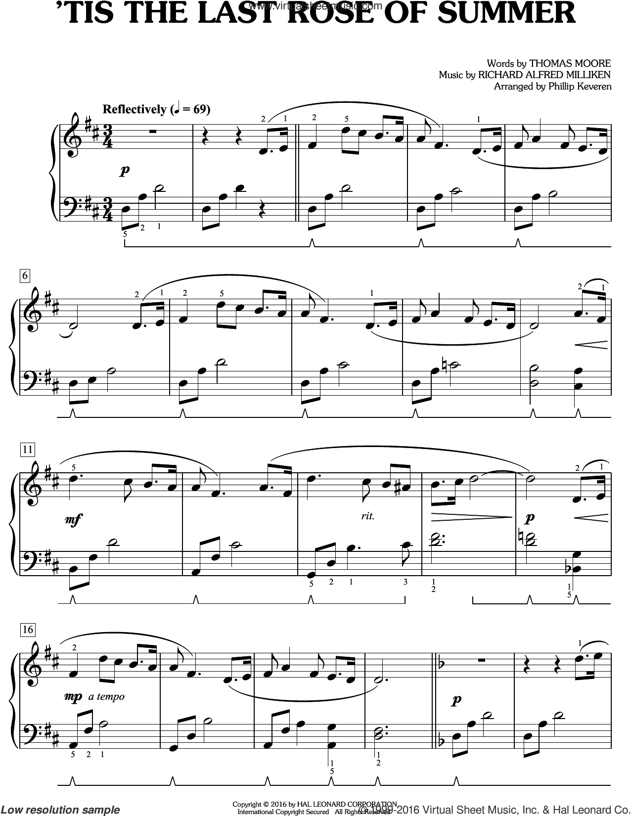 'Tis The Last Rose Of Summer sheet music for piano solo by Thomas Moore and Miscellaneous, easy skill level
