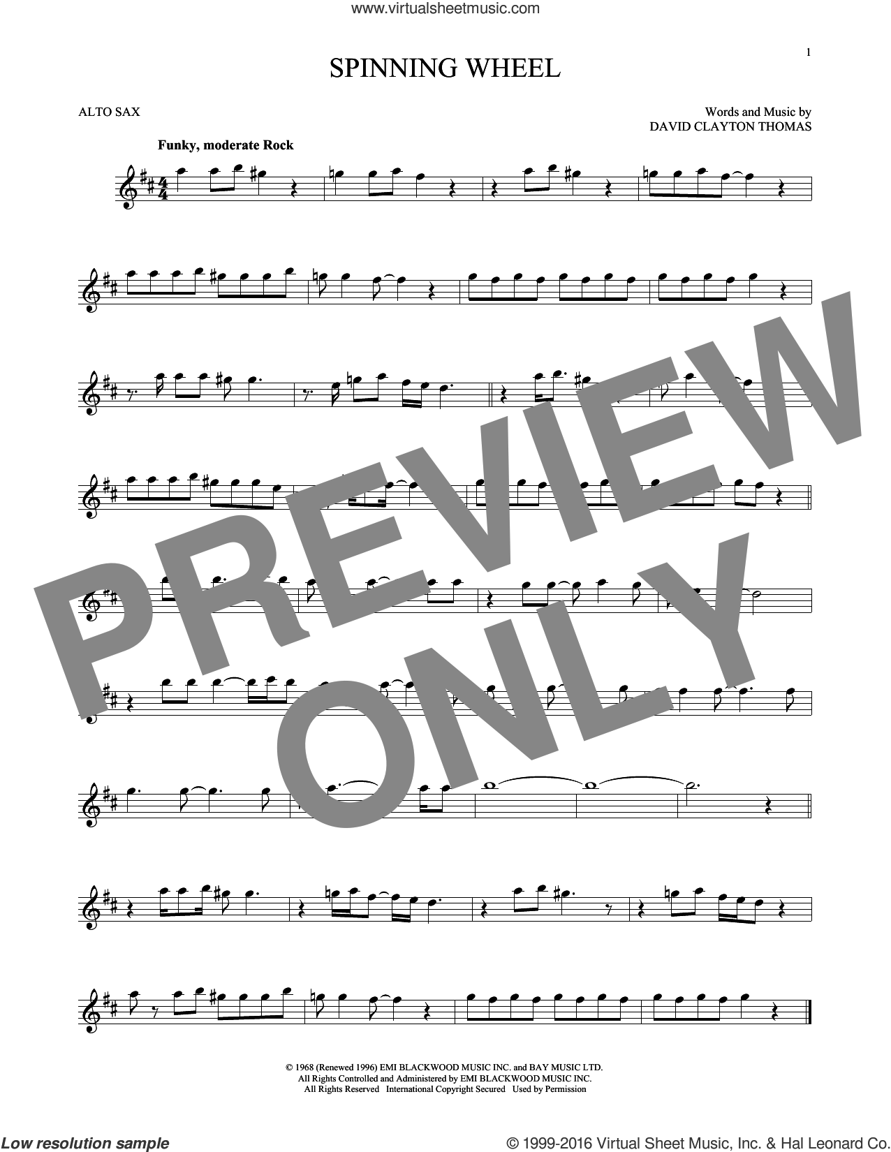 Spinning Wheel sheet music for alto saxophone solo by Blood, Sweat & Tears and David Clayton Thomas, intermediate skill level