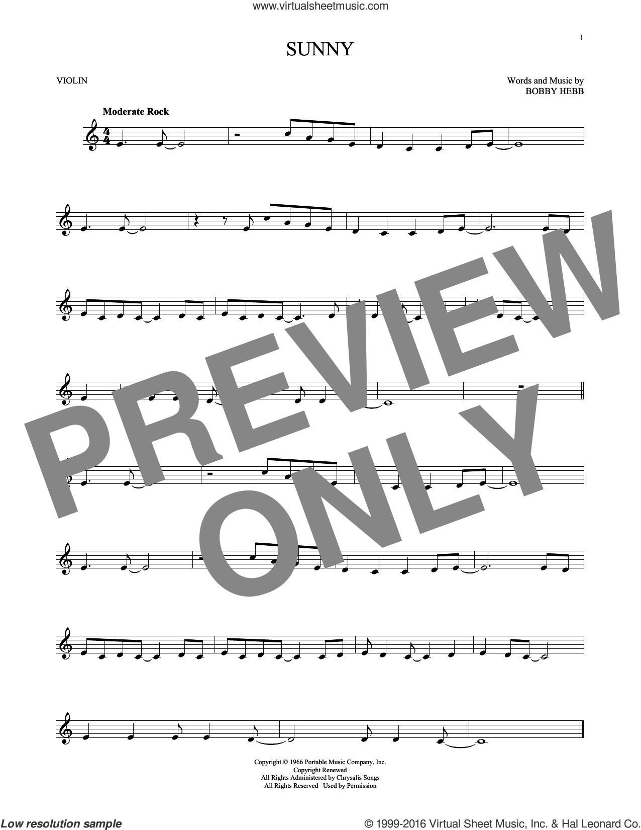 Sunny sheet music for violin solo by Bobby Hebb and Pat Martino, intermediate skill level