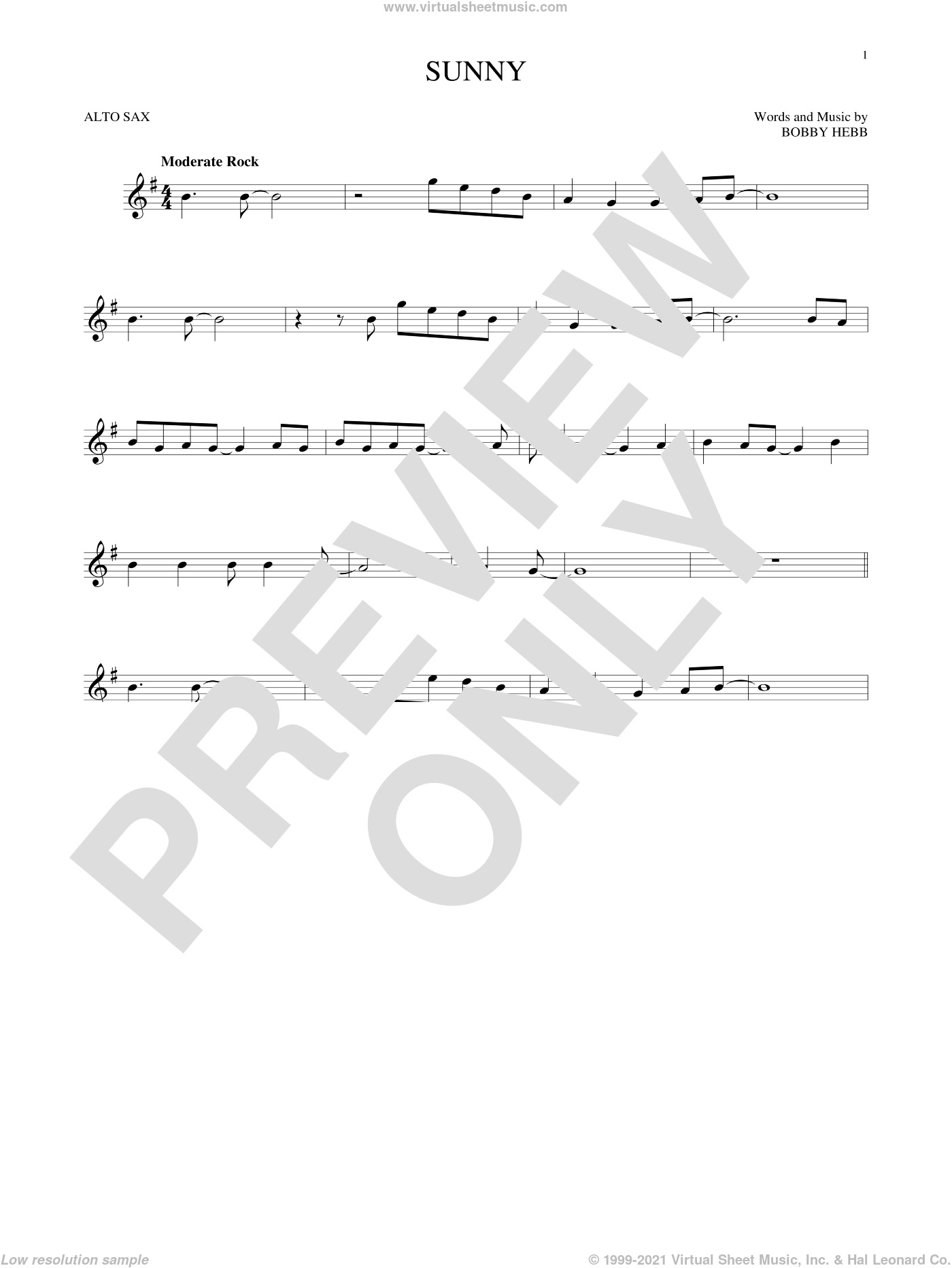Sunny sheet music for alto saxophone solo by Bobby Hebb and Pat Martino, intermediate skill level