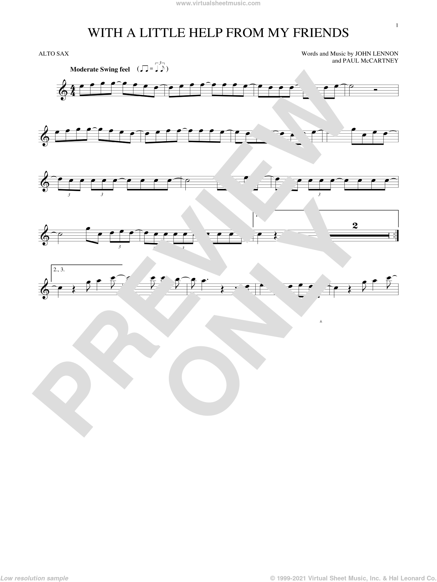 With A Little Help From My Friends sheet music for alto saxophone solo by Paul McCartney, Joe Cocker, The Beatles and John Lennon. Score Image Preview.