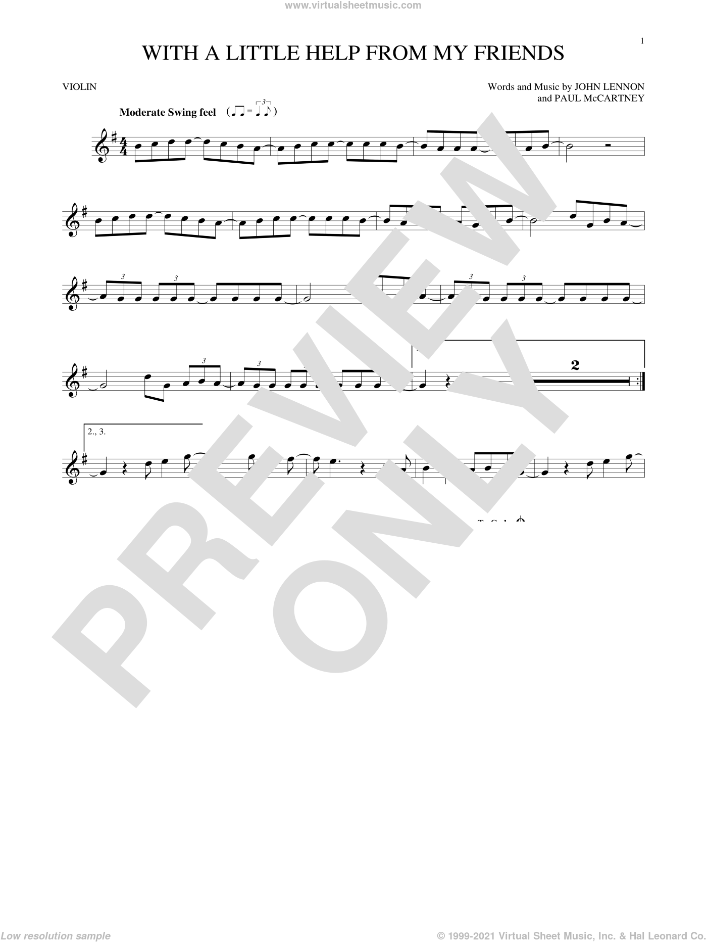 With A Little Help From My Friends sheet music for violin solo by The Beatles, Joe Cocker, John Lennon and Paul McCartney, intermediate skill level