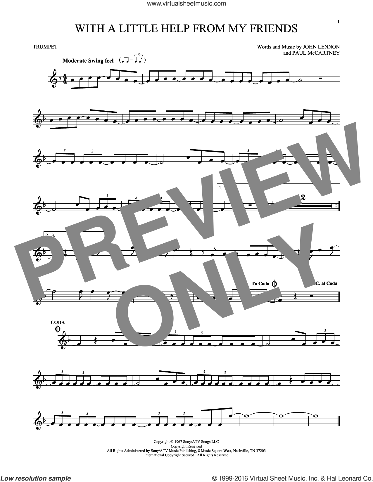 With A Little Help From My Friends sheet music for trumpet solo by The Beatles, Joe Cocker, Sam And Mark, John Lennon and Paul McCartney, intermediate skill level