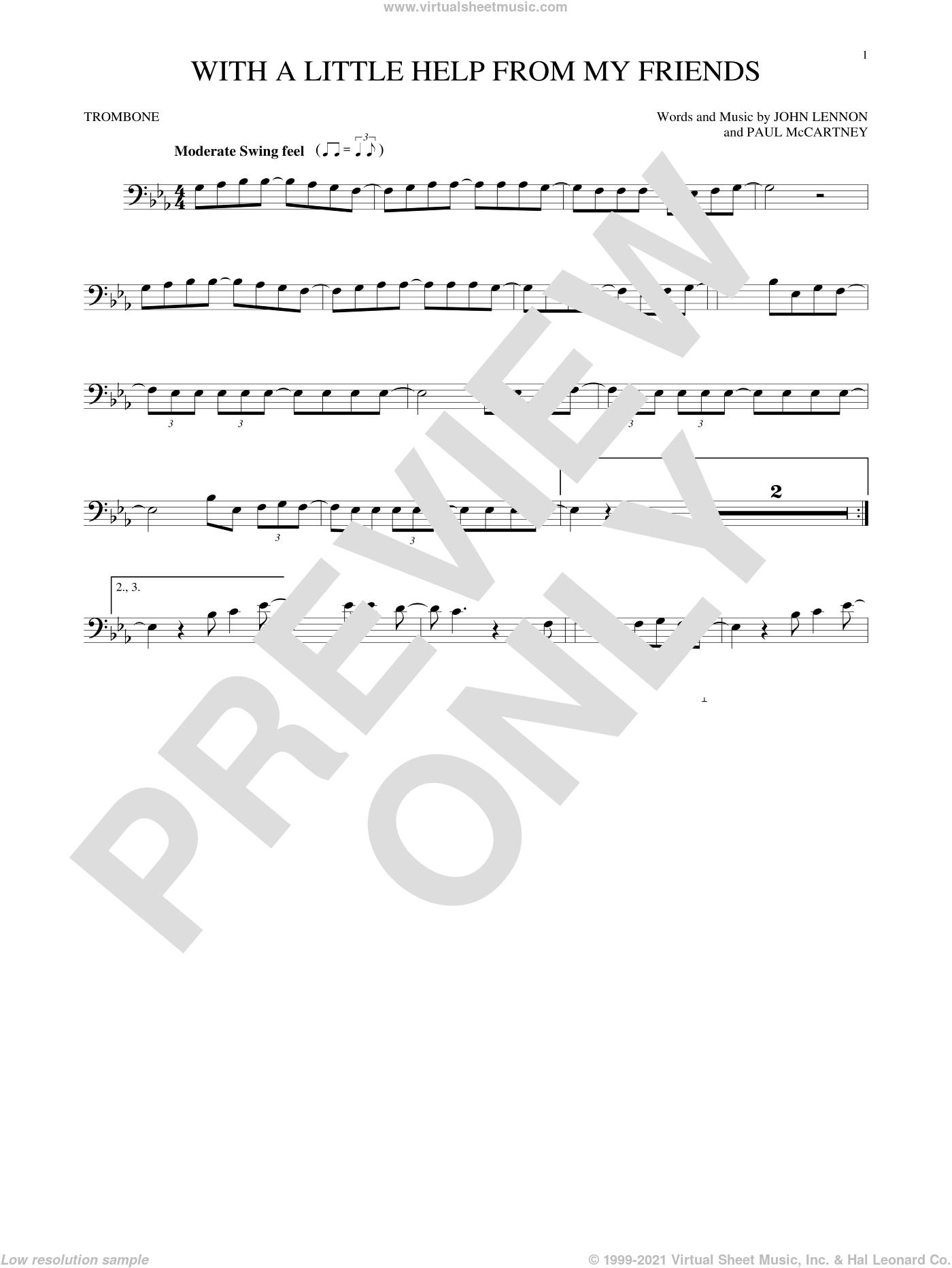 With A Little Help From My Friends sheet music for trombone solo by Paul McCartney, Joe Cocker, The Beatles and John Lennon. Score Image Preview.