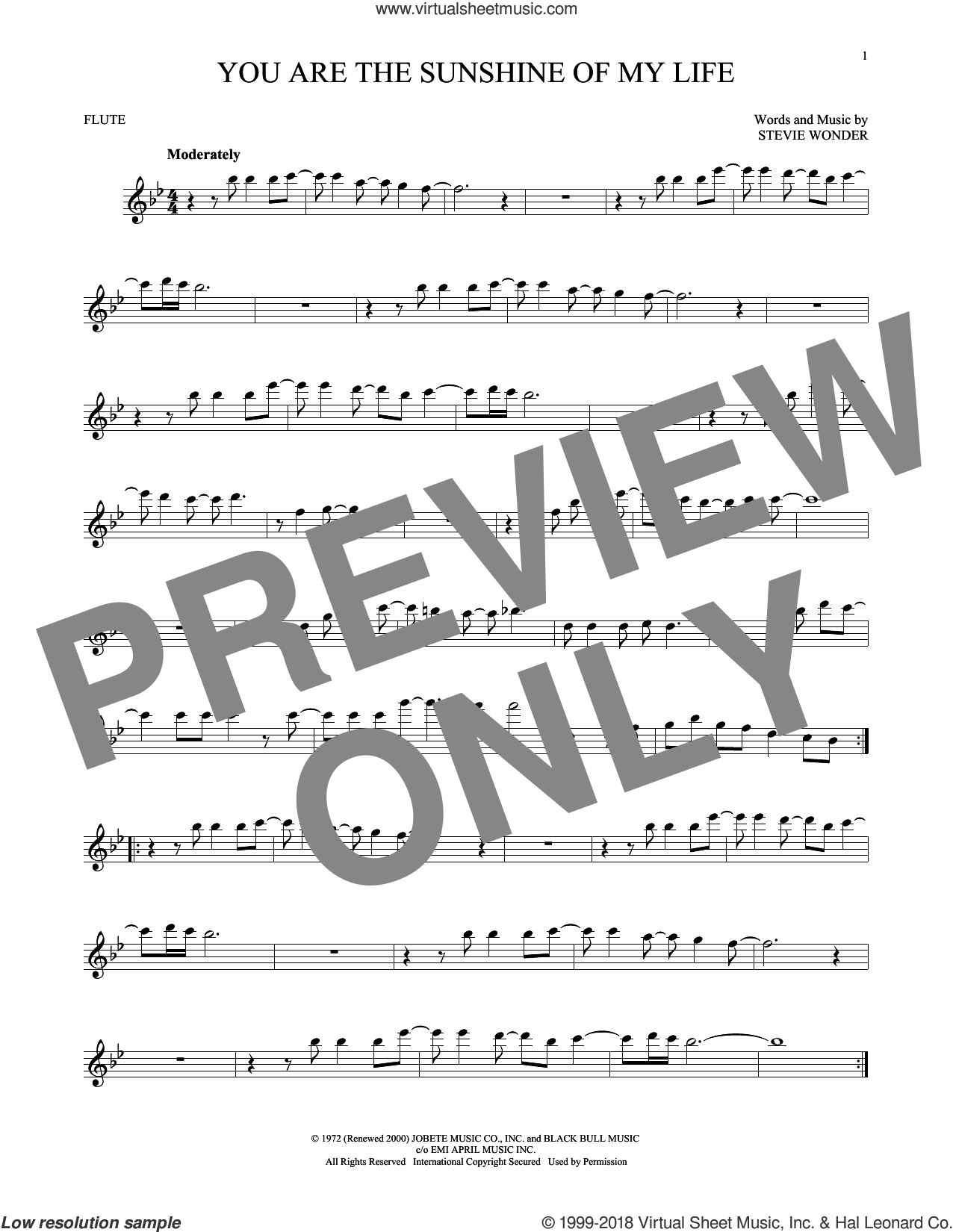 You Are The Sunshine Of My Life sheet music for flute solo by Stevie Wonder, intermediate skill level