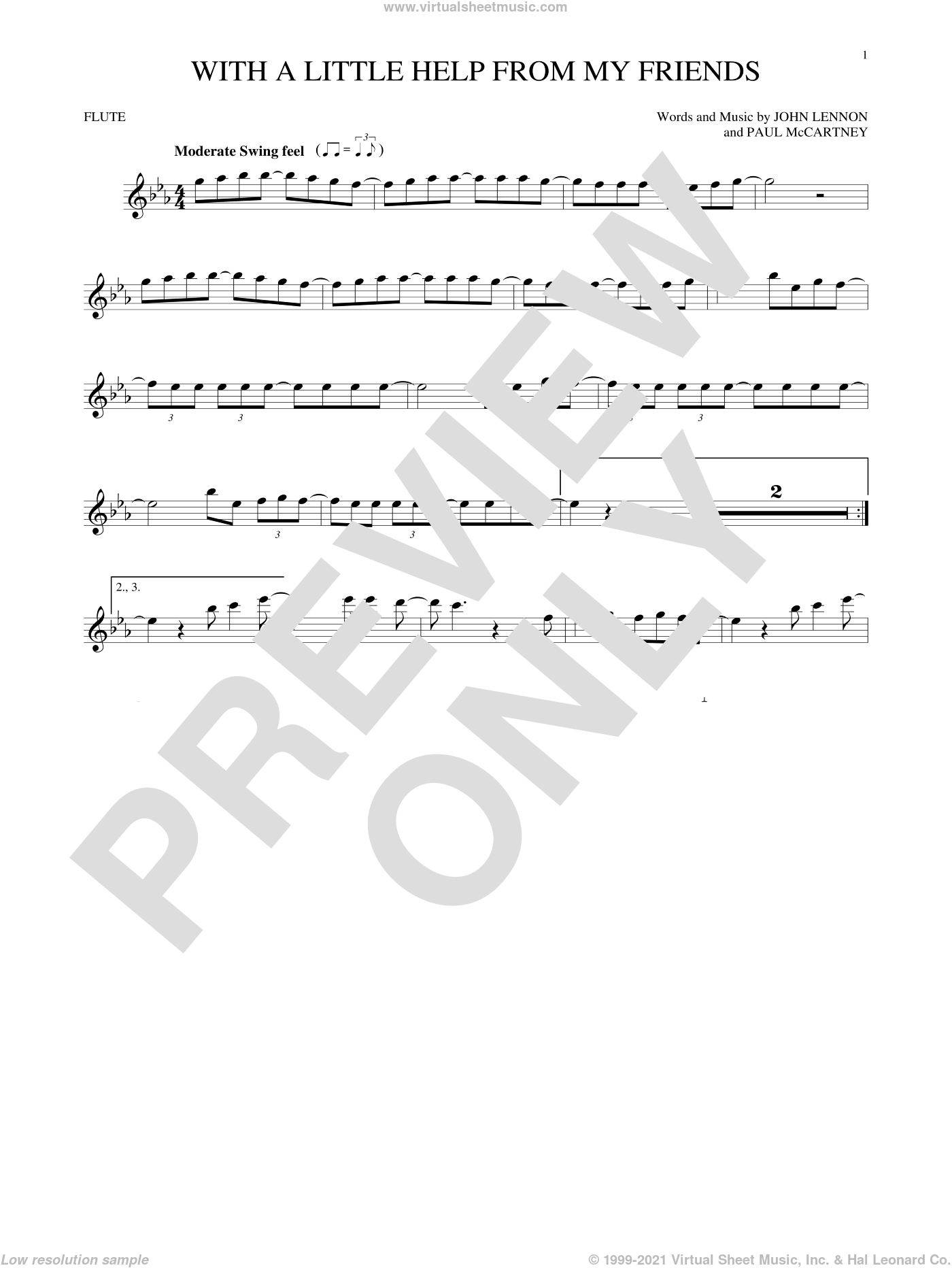 With A Little Help From My Friends sheet music for flute solo by The Beatles, Joe Cocker, John Lennon and Paul McCartney, intermediate