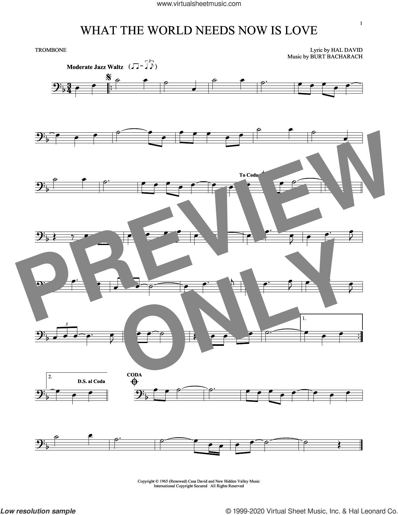 What The World Needs Now Is Love sheet music for trombone solo by Bacharach & David, Jackie DeShannon, Burt Bacharach and Hal David, intermediate skill level
