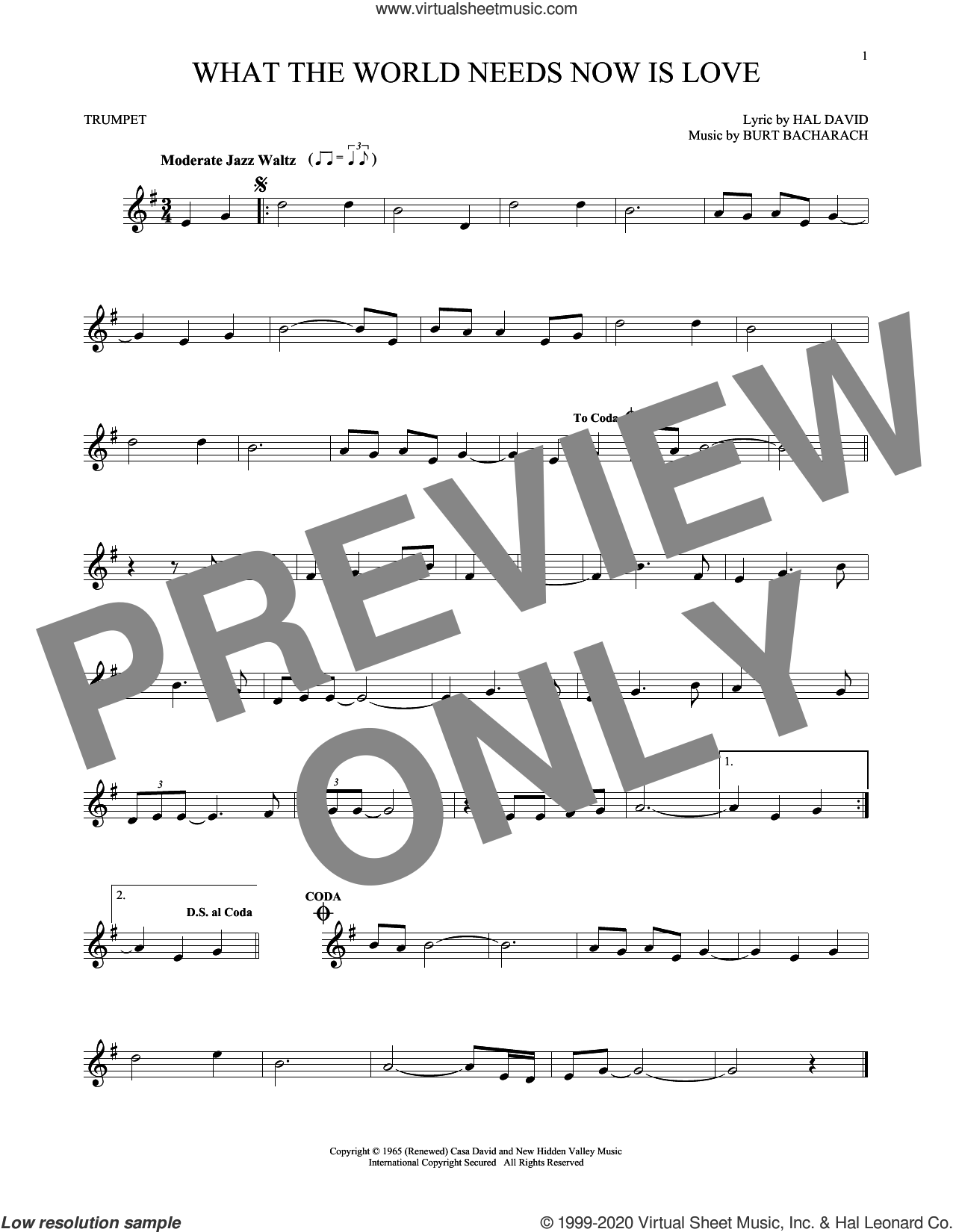 What The World Needs Now Is Love sheet music for trumpet solo by Bacharach & David, Jackie DeShannon, Burt Bacharach and Hal David, intermediate skill level