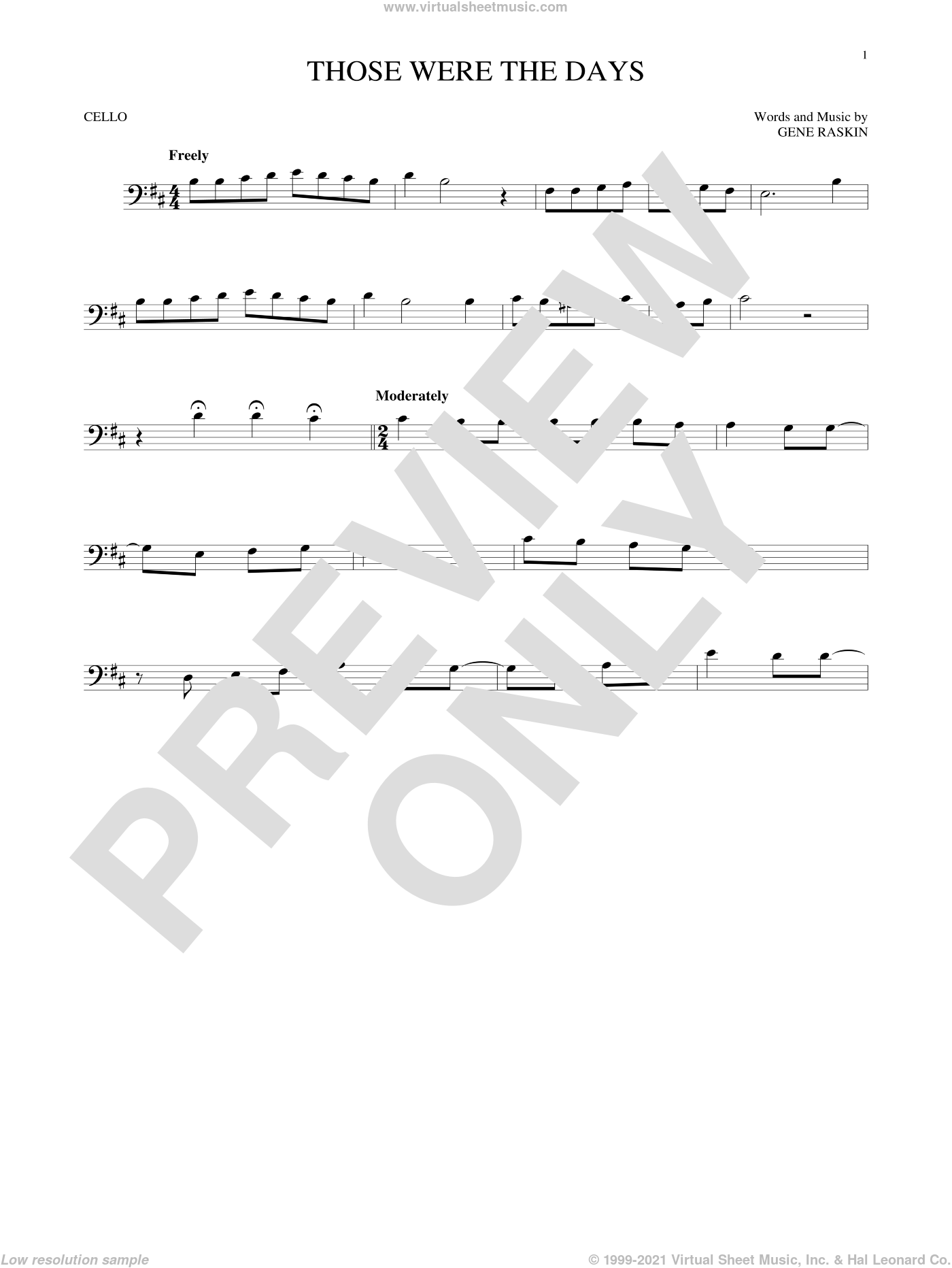 Those Were The Days sheet music for cello solo by Gene Raskin. Score Image Preview.
