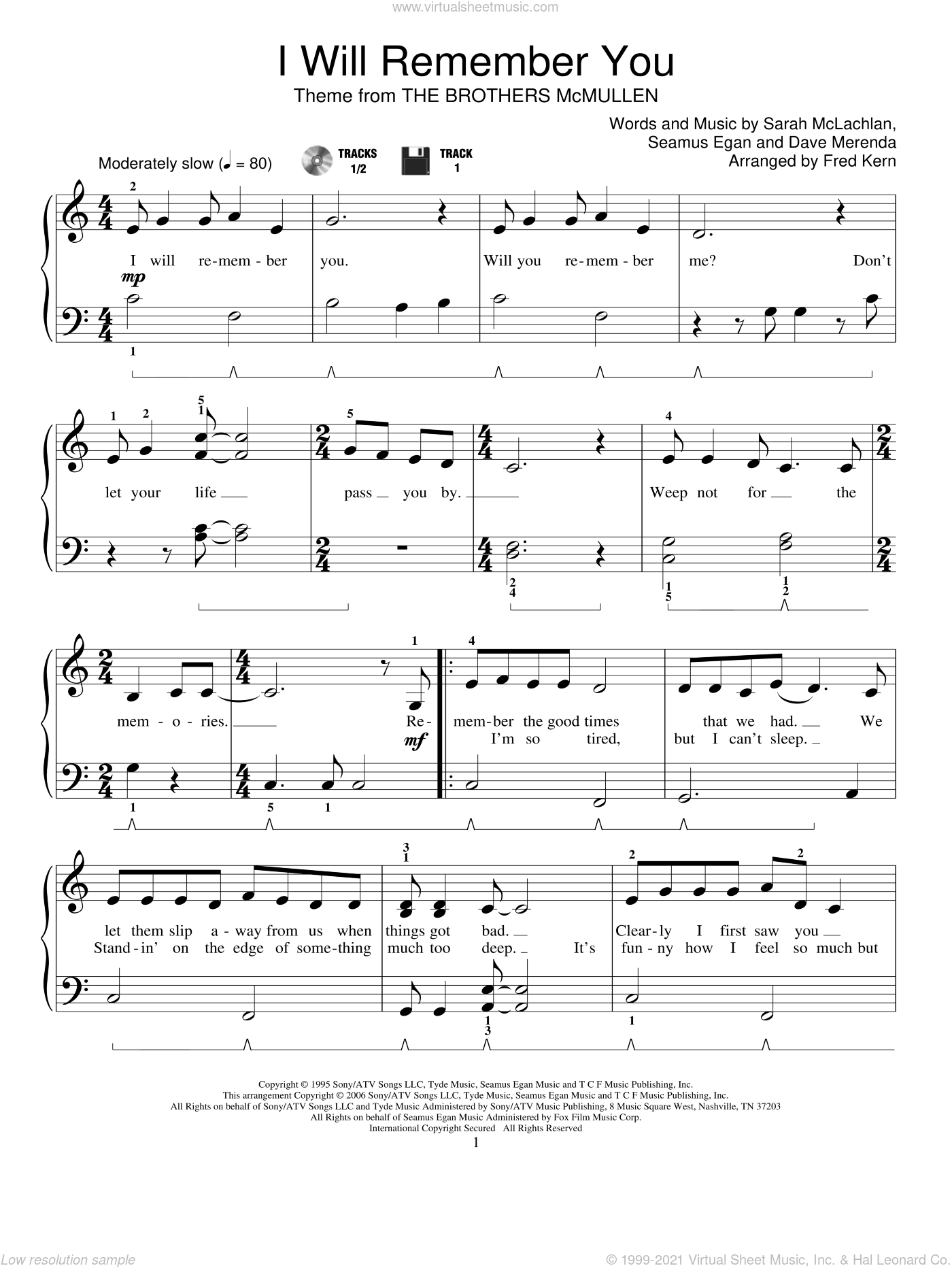 I Will Remember You sheet music for piano solo (elementary) by Fred Kern and Sarah McLachlan. Score Image Preview.