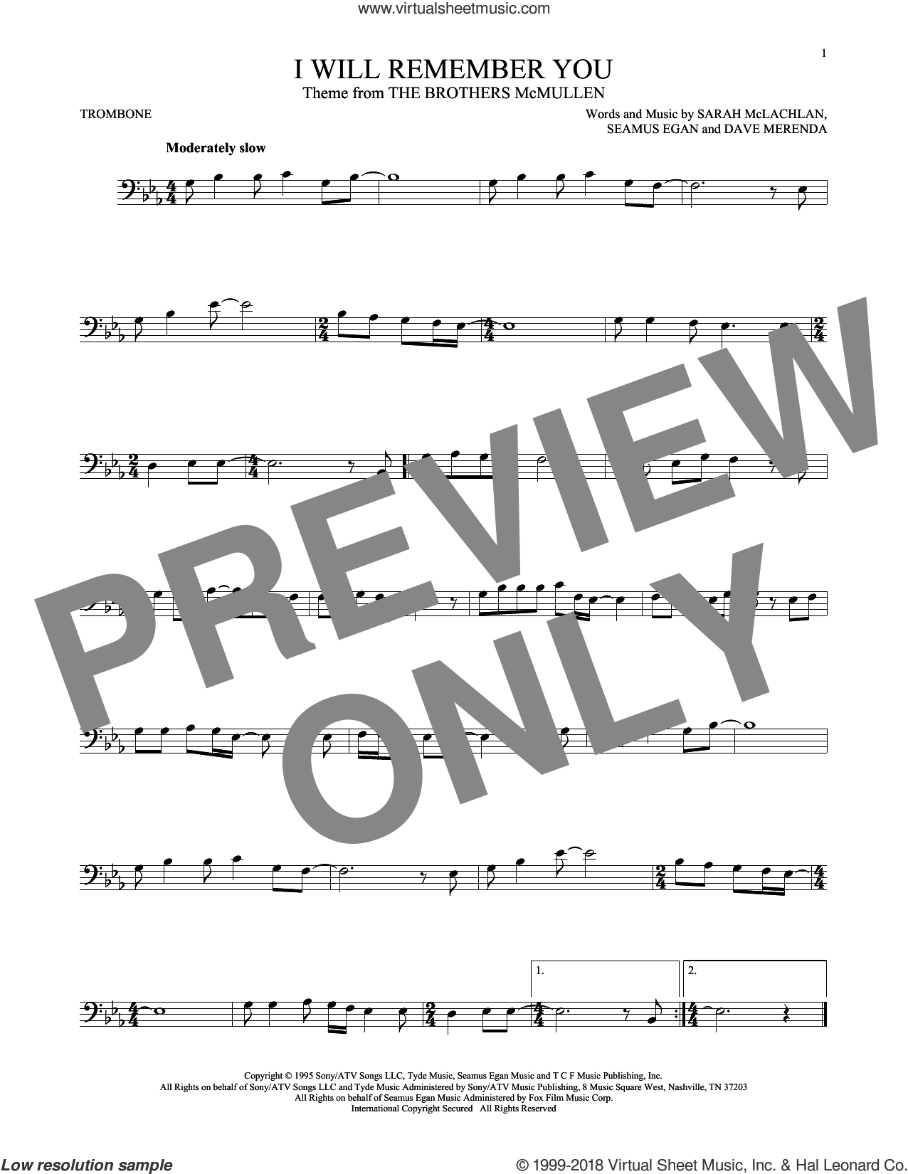 I Will Remember You sheet music for trombone solo by Sarah McLachlan, Dave Merenda and Seamus Egan, intermediate skill level