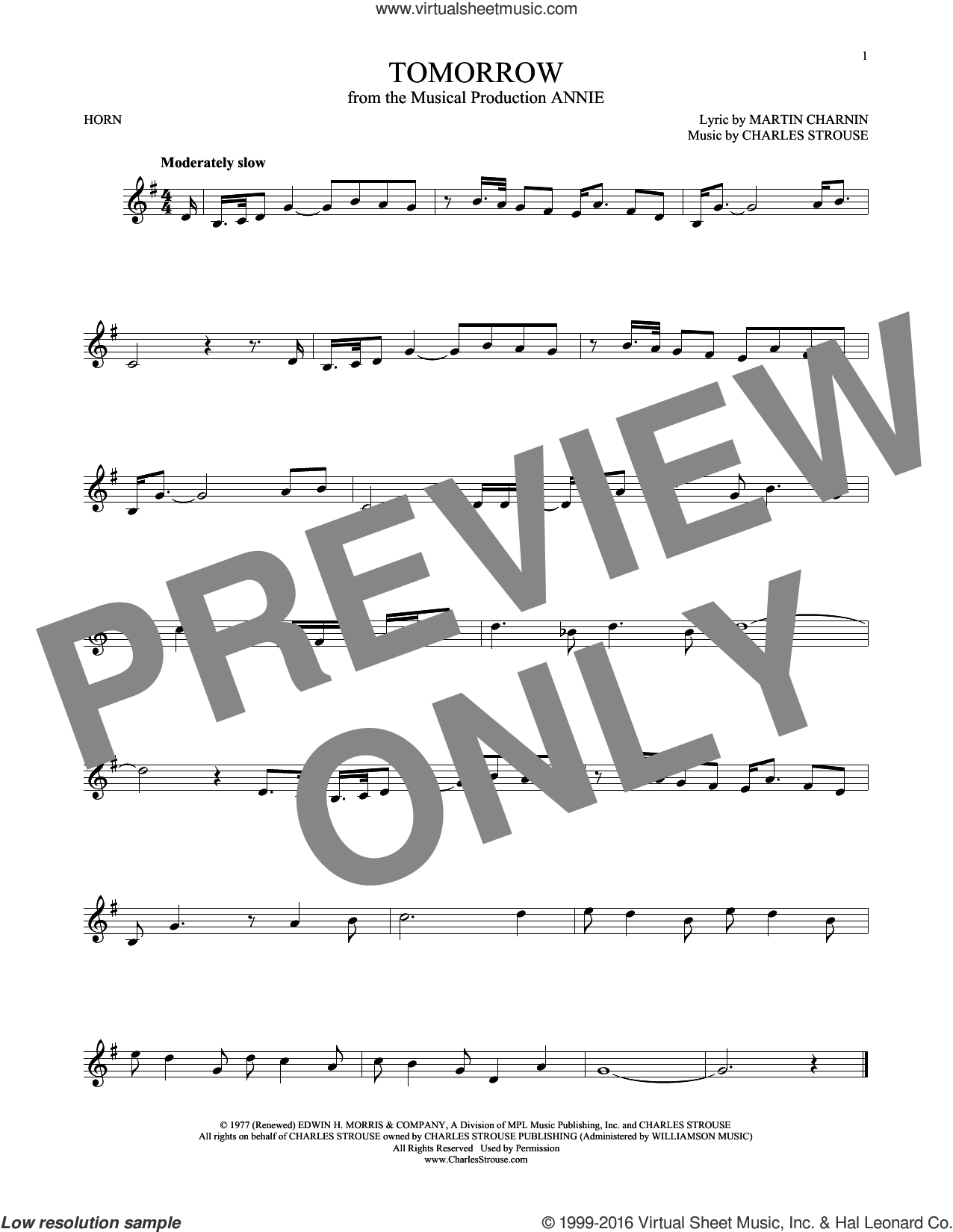 Tomorrow sheet music for horn solo by Charles Strouse and Martin Charnin, intermediate skill level